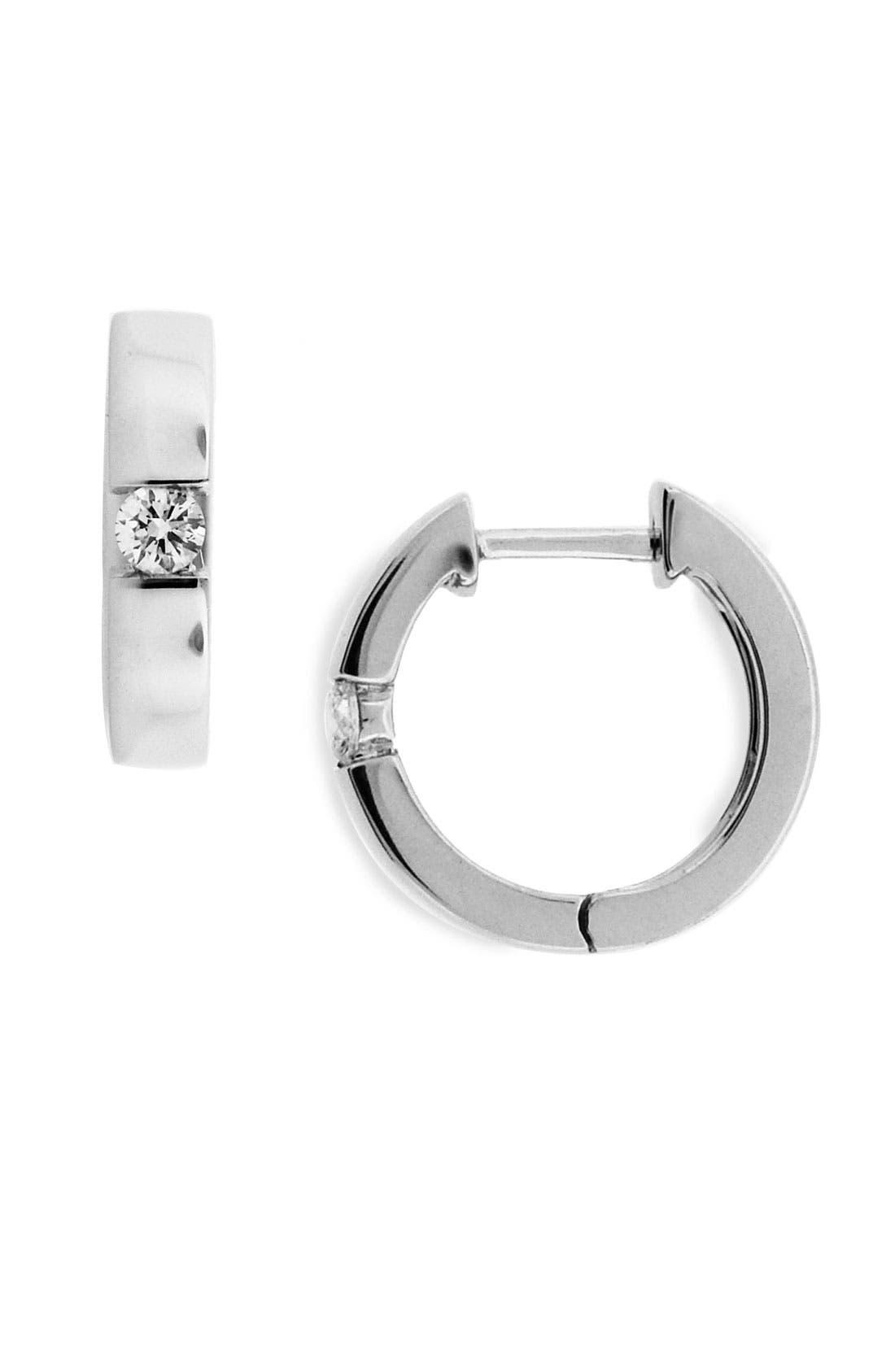 Main Image - Bony Levy Bar Set Diamond Hoop Earrings (Nordstrom Exclusive)