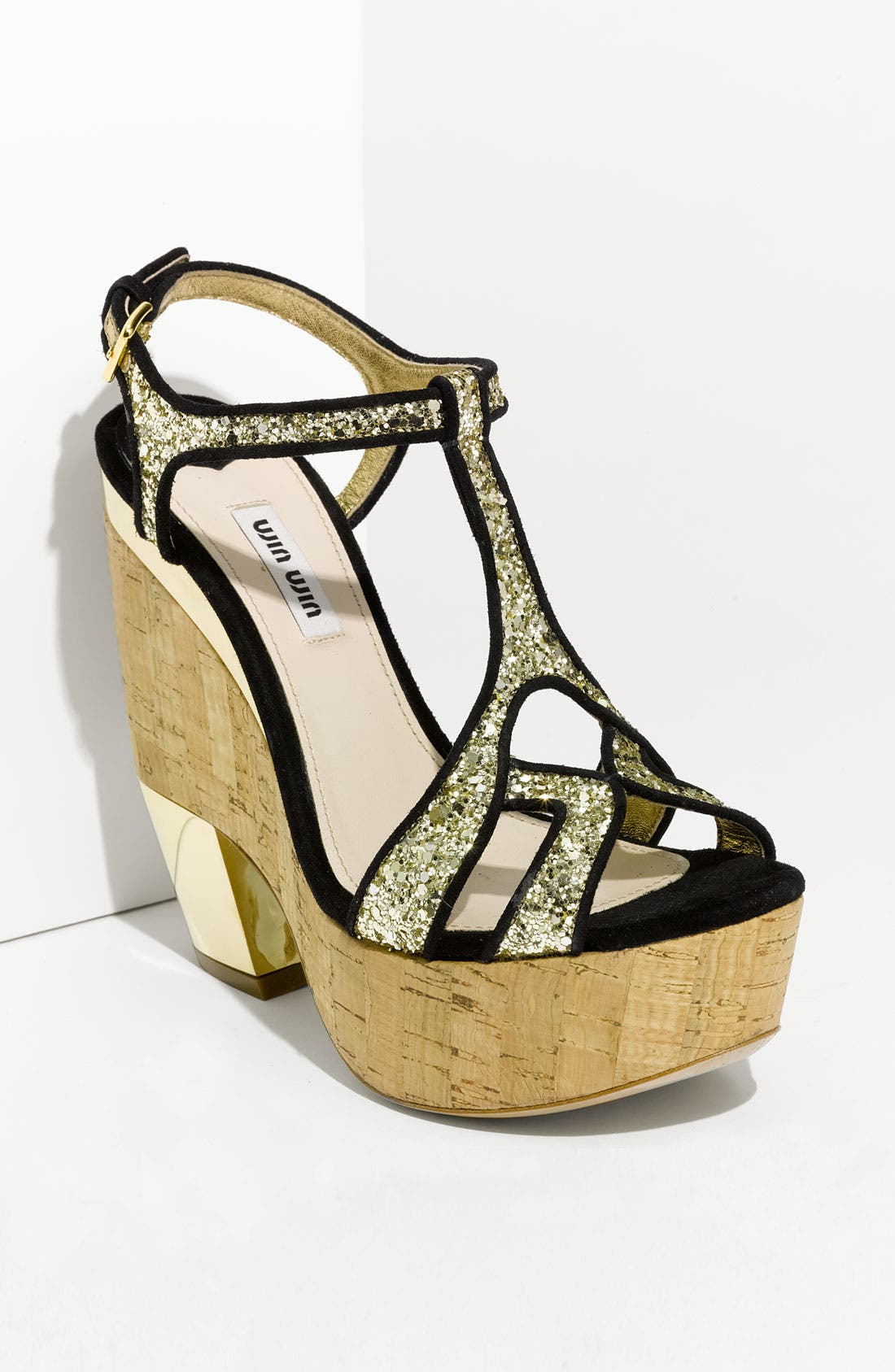 Alternate Image 1 Selected - Miu Miu Glitter Wedge Platform Sandal