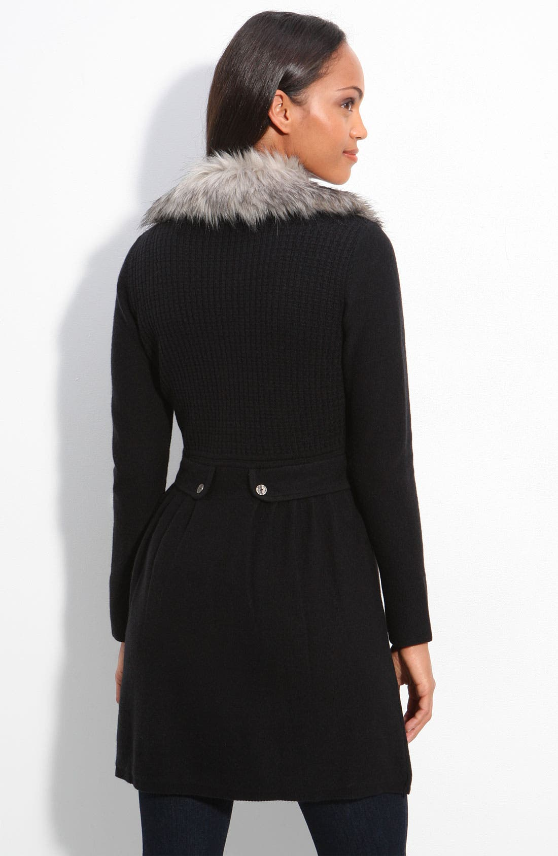 Alternate Image 2  - Nic + Zoe Sweater Coat with Faux Fur Trim