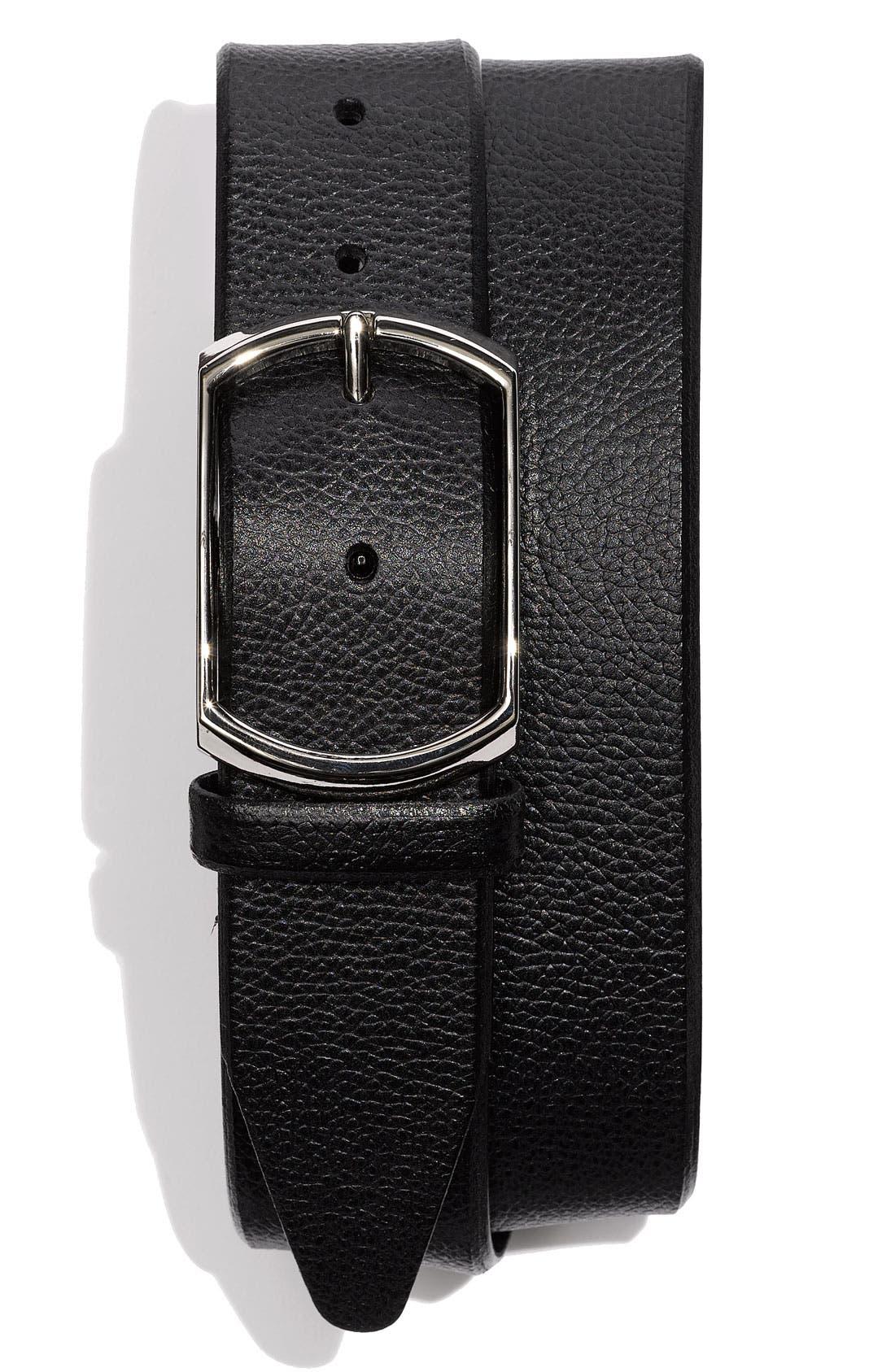 Calfskin Belt,                             Main thumbnail 1, color,                             Black