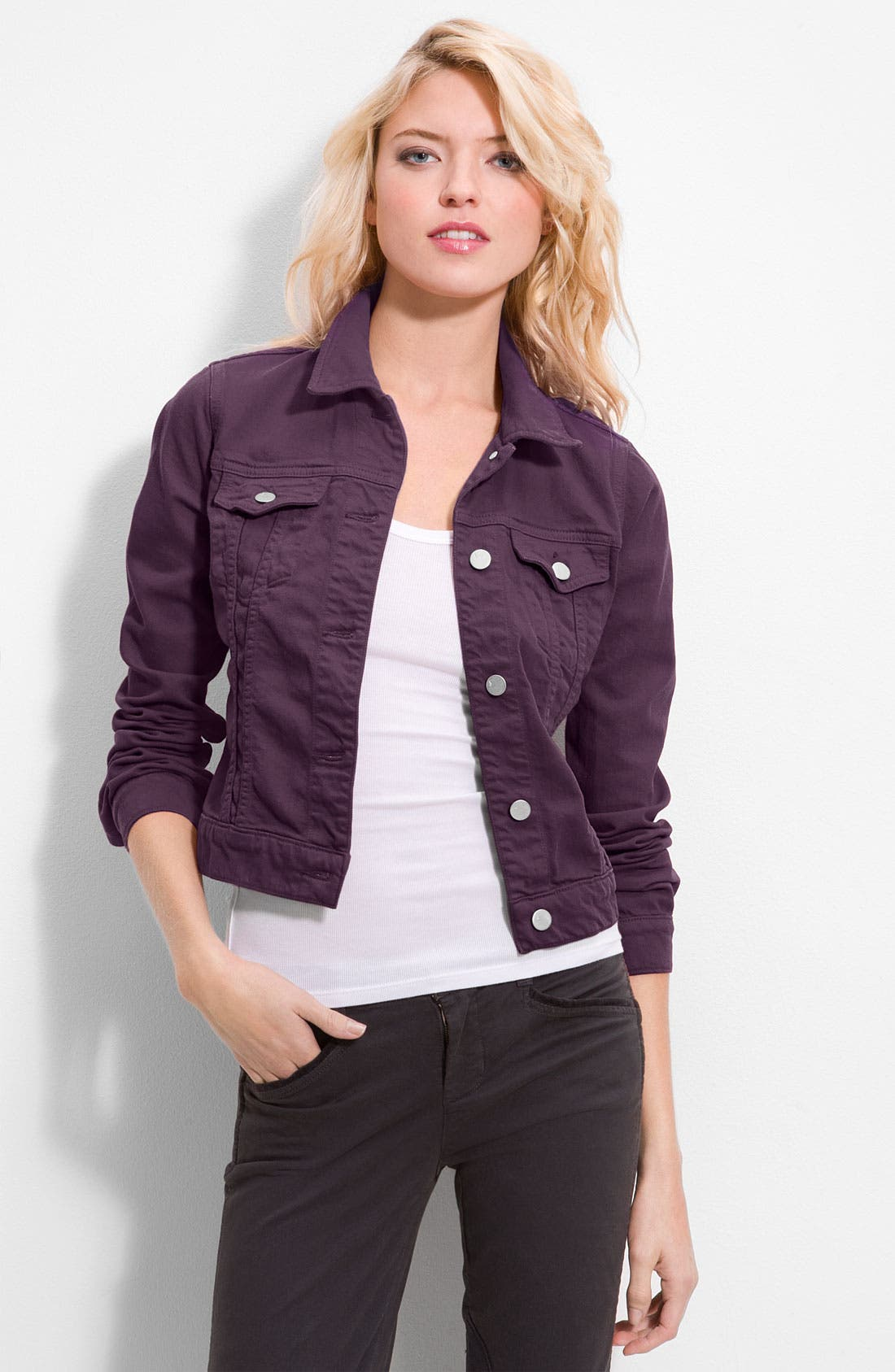 Slim Fit Overdyed Denim Jacket,                         Main,                         color, Aubergine