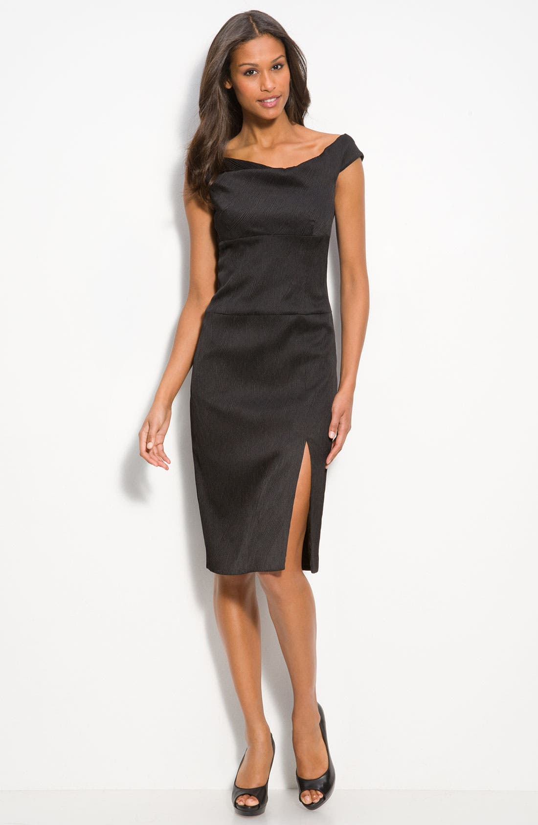 Main Image - Black Halo Texture Satin Off the Shoulder Sheath Dress