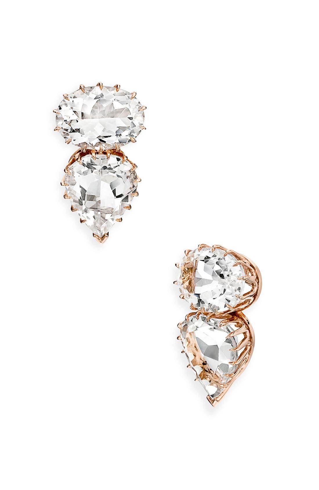 Alternate Image 1 Selected - Ivanka Trump Rose Gold & Rock Crystal Earrings