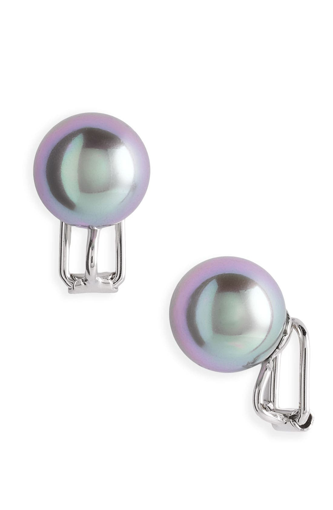 Main Image - Majorica 12mm Round Pearl Clip Earrings