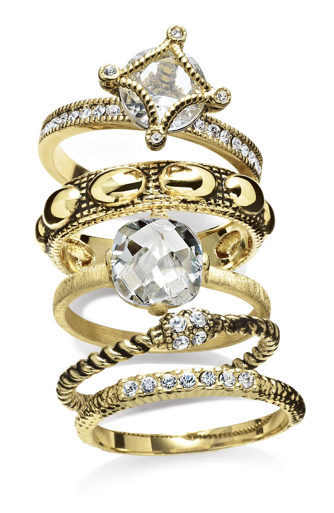 Alternate Image 2  - Ariella Collection Multi Stone Stackable Rings (Set of 5)