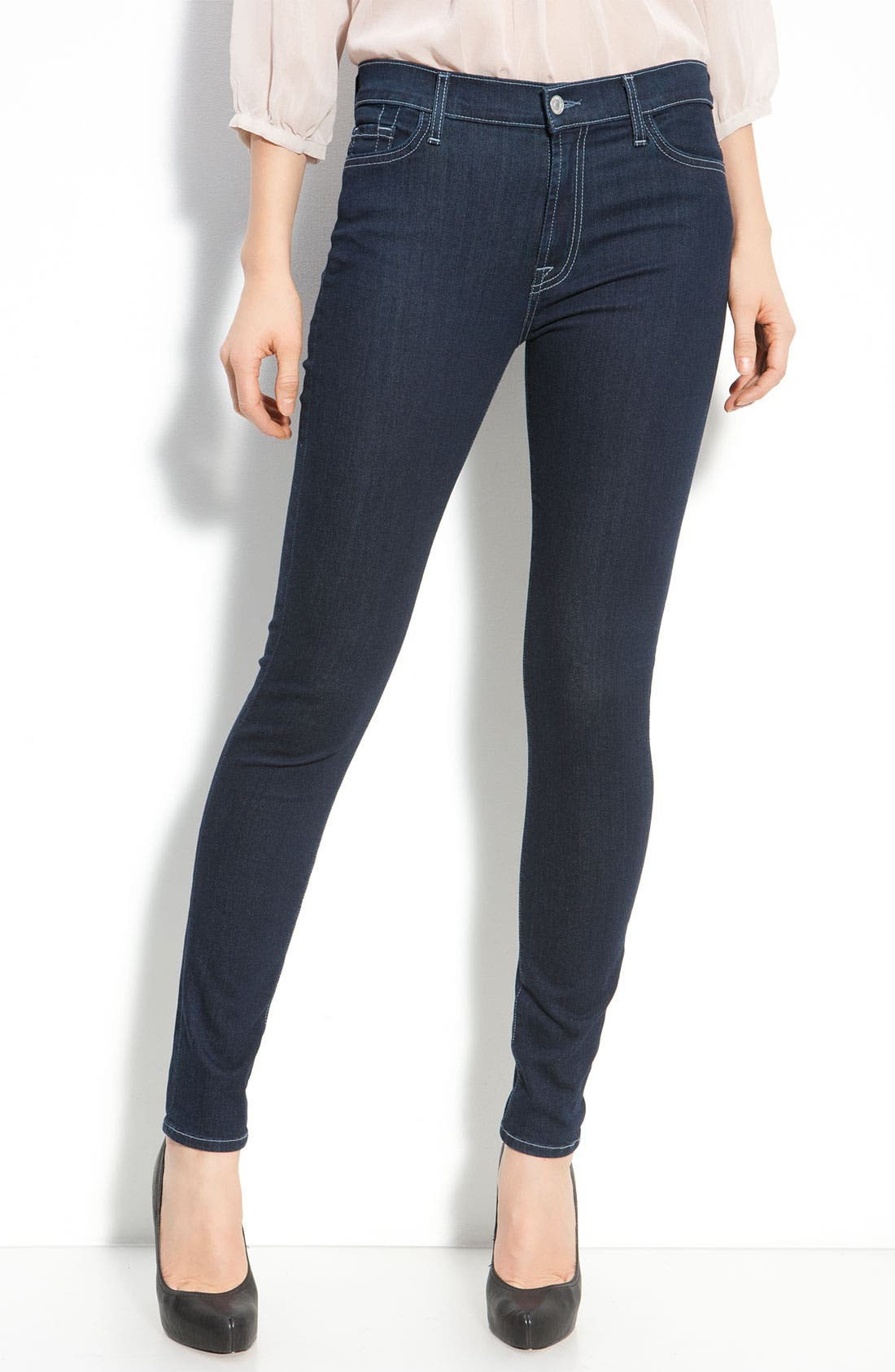 Alternate Image 1 Selected - 7 For All Mankind® High Rise Skinny Leg Jeans (Rinsed Indigo Wash)