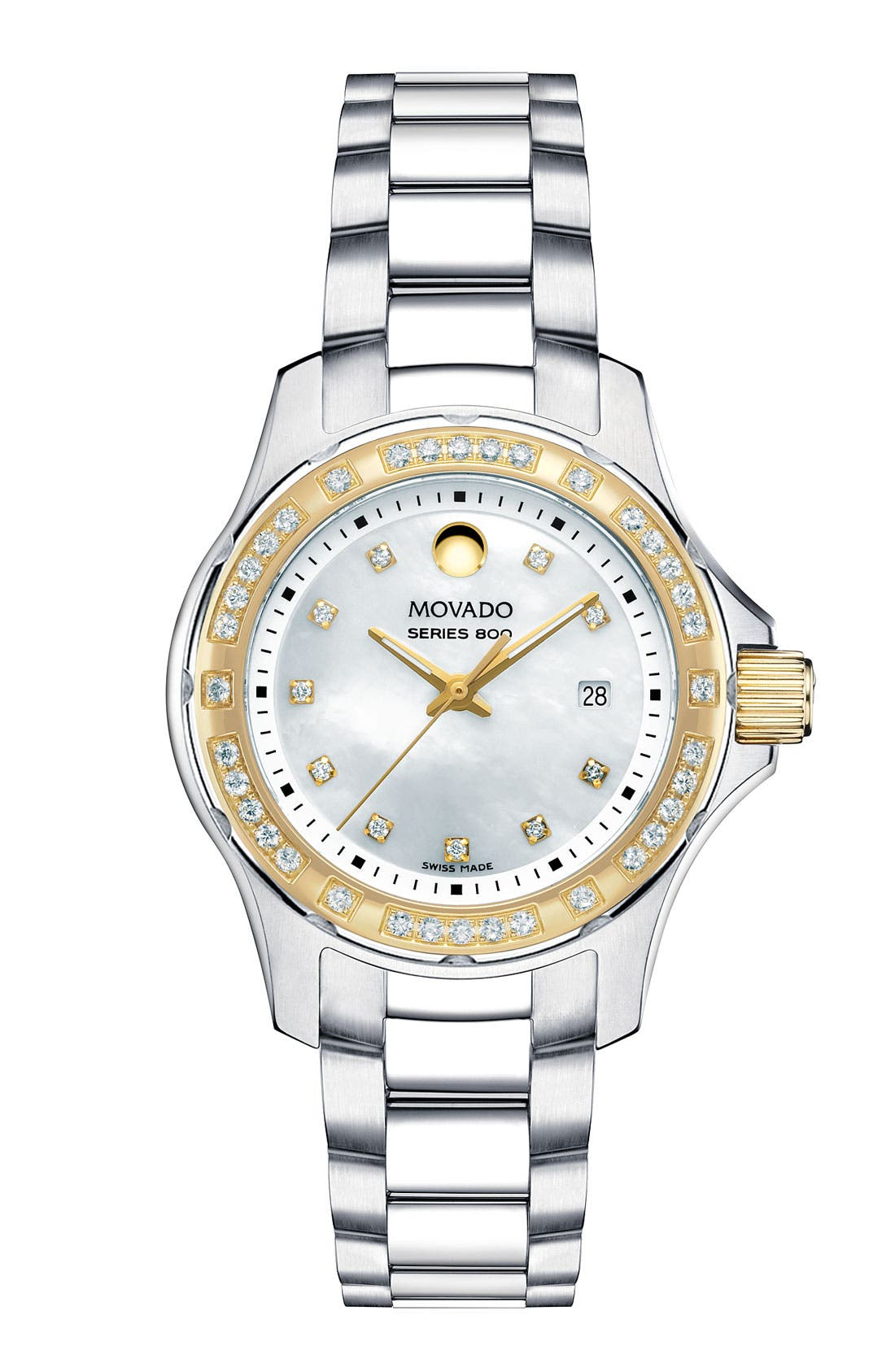 Main Image - Movado 'Series 800' Two Tone Diamond Bracelet Watch, 29mm