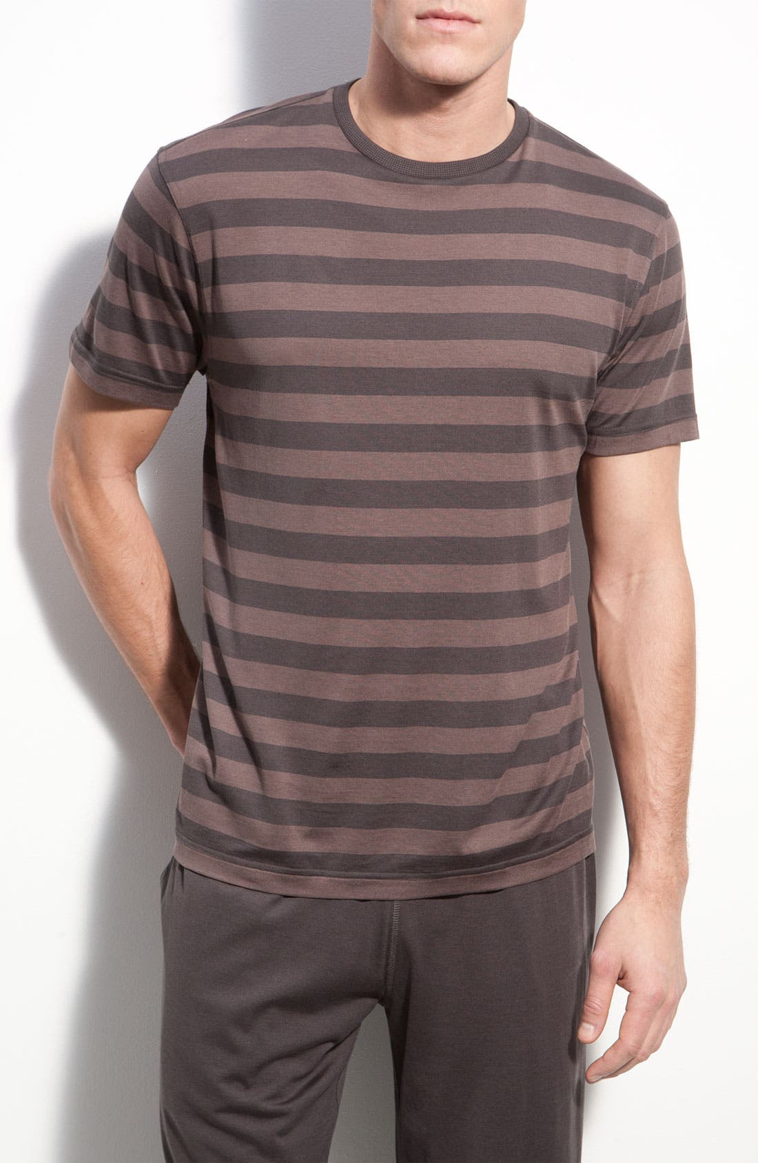 Main Image - Daniel Buchler Silk Blend Heathered Stripe T-Shirt