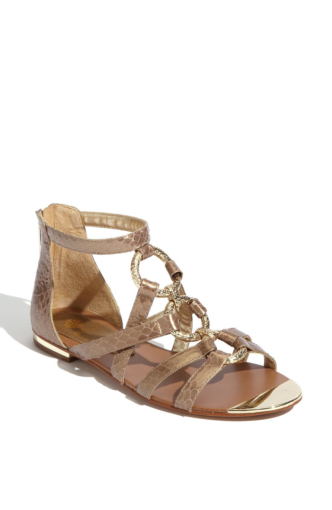 'Adriel' Flat Sandal,                             Main thumbnail 1, color,                             Gold Snake