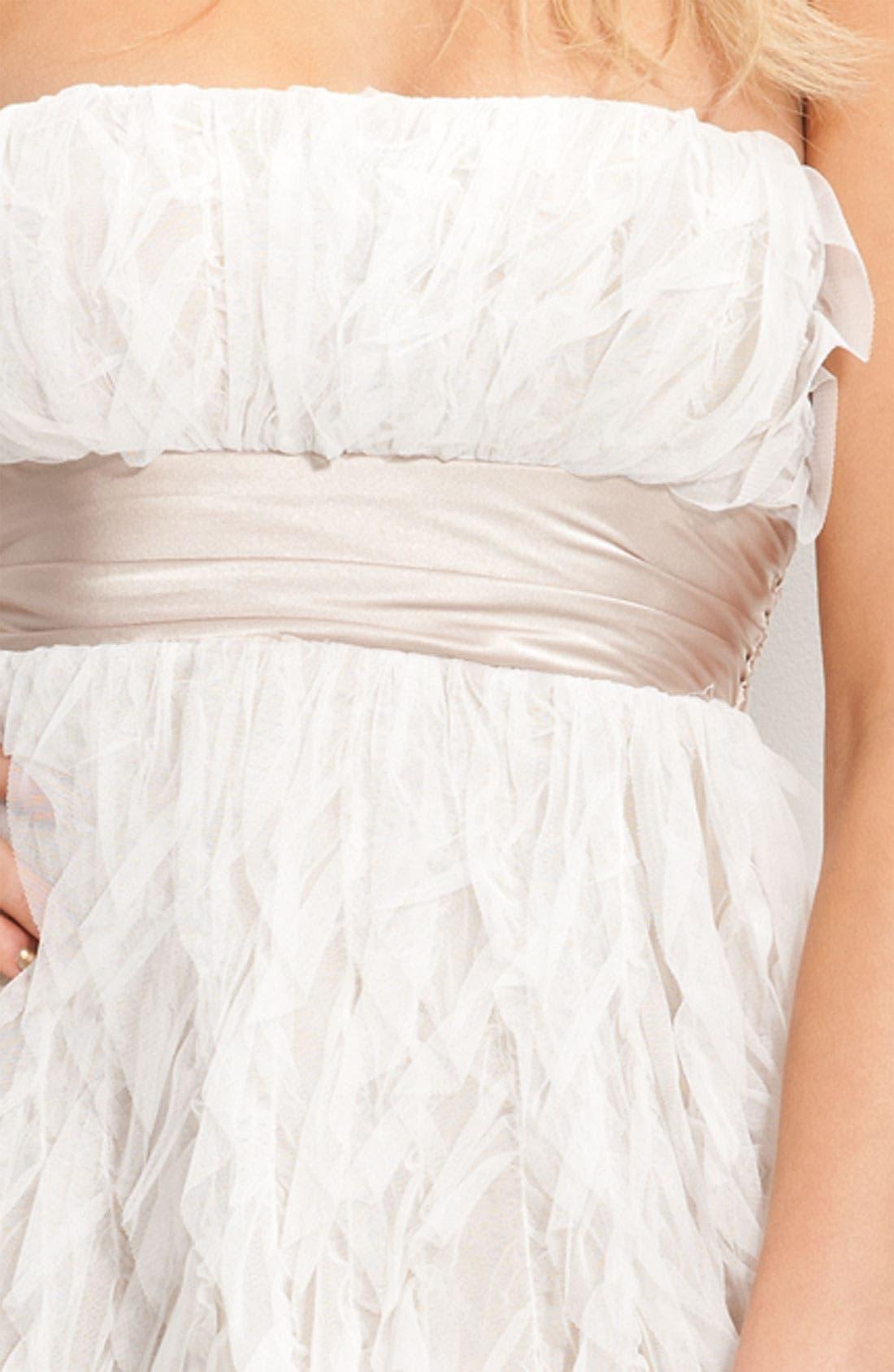 Alternate Image 3  - Jump Apparel Satin Sash Strapless Ruffle Dress (Juniors)