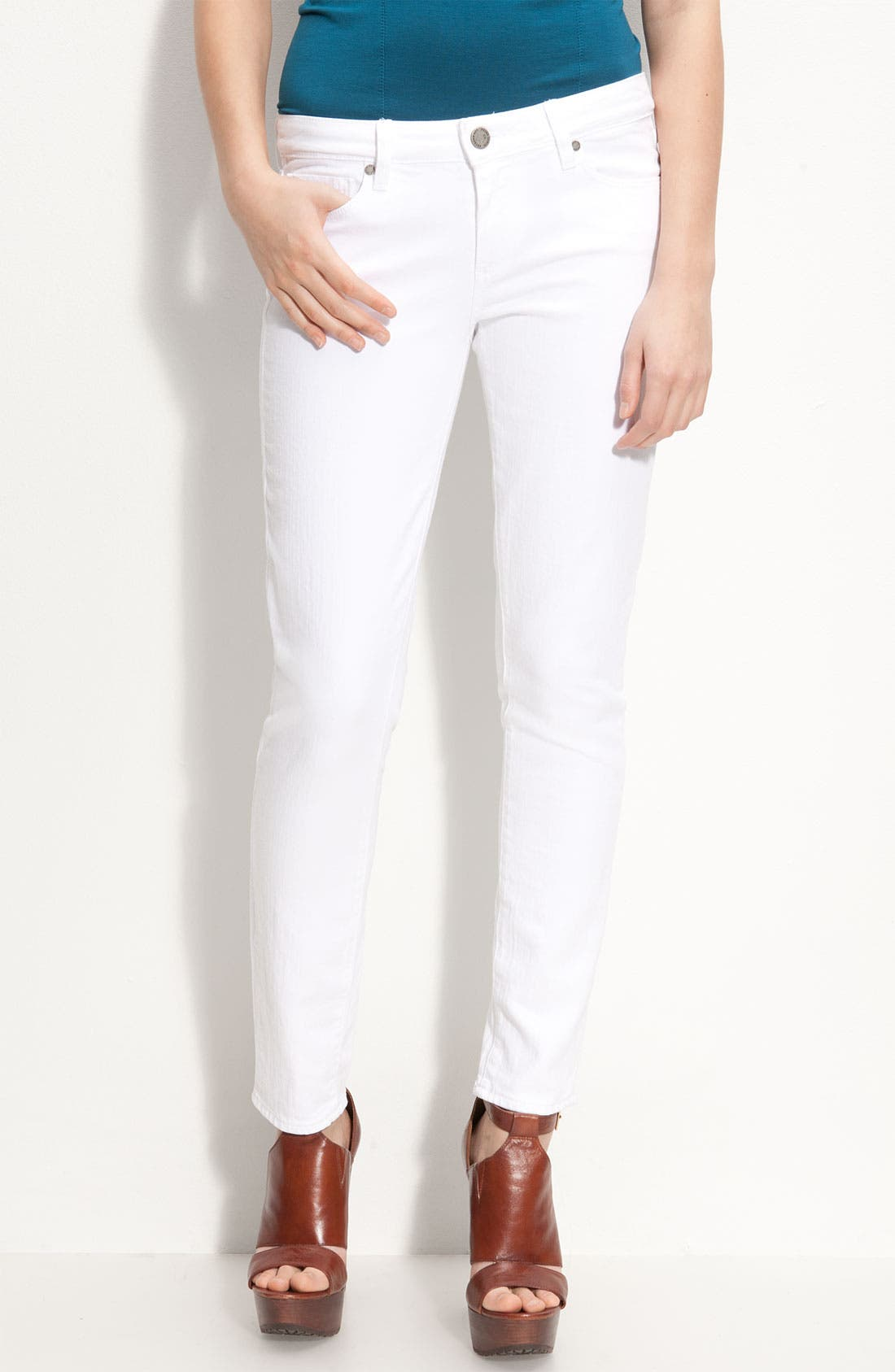 Alternate Image 1 Selected - Paige Denim 'Skyline' Skinny Stretch Ankle Jeans (Optic White)