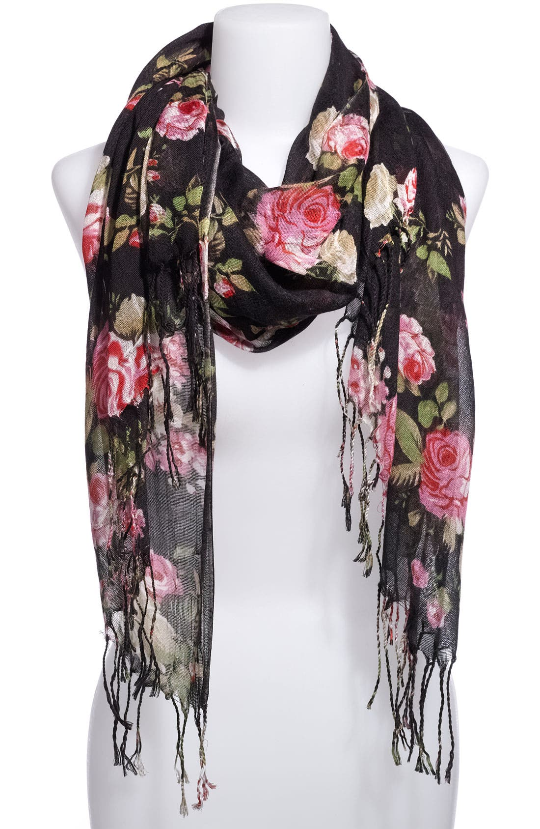 Alternate Image 1 Selected - Frenchi® Romantic Rose Gauze Scarf