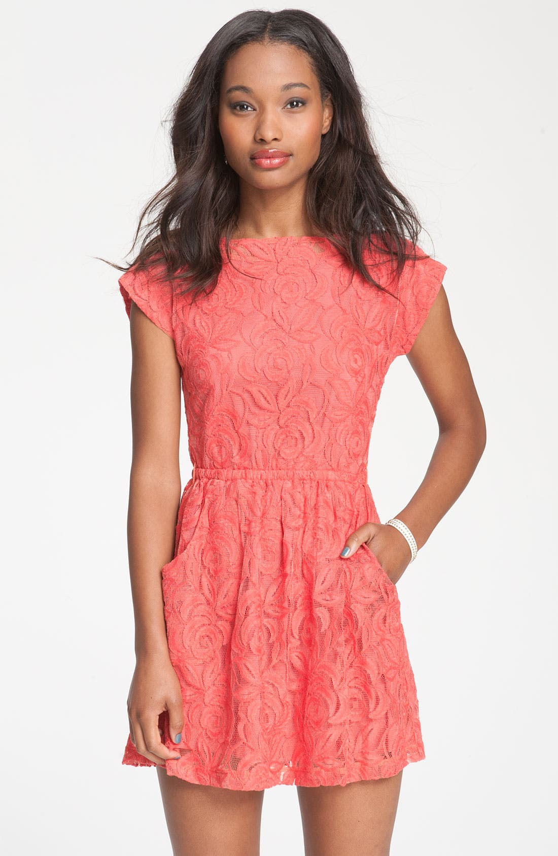 Main Image - Fire Knotted Open Back Lace Dress (Juniors)