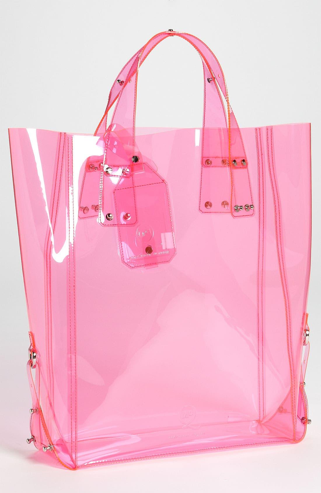 McQ by Alexander McQueen 'Kingsland' Vinyl Shopper,                             Main thumbnail 1, color,                             Bright Pink