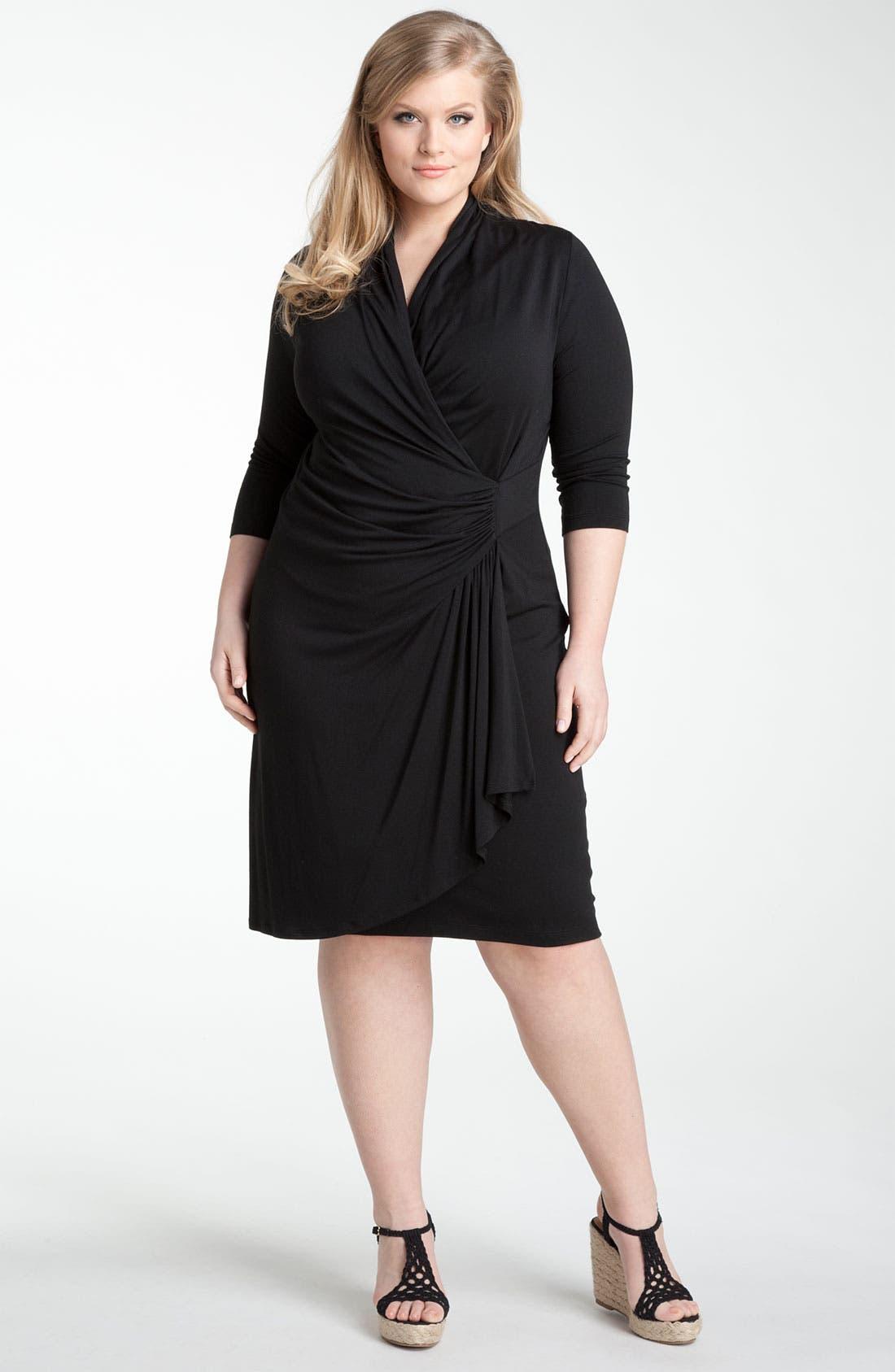 Alternate Image 1 Selected - Karen Kane 'Cascade' Faux Wrap Dress (Plus)