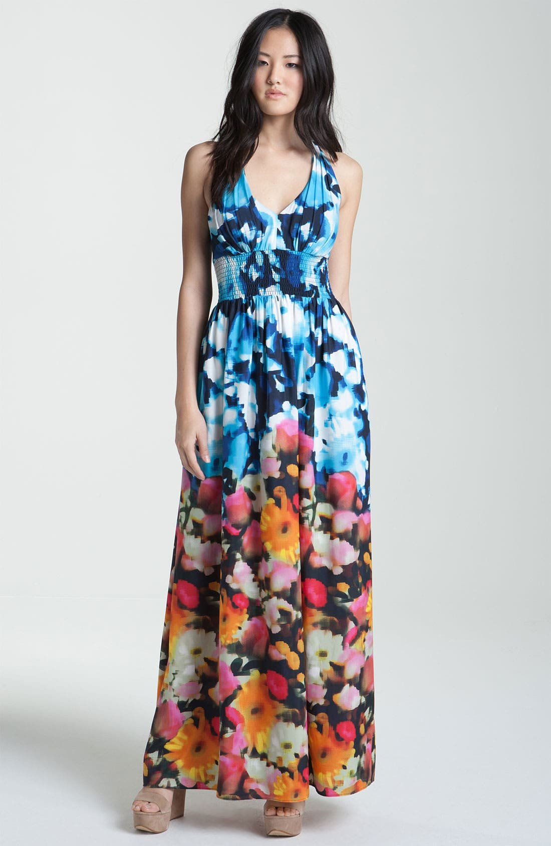 Alternate Image 1 Selected - Eliza J Print Halter Crepe Maxi Dress