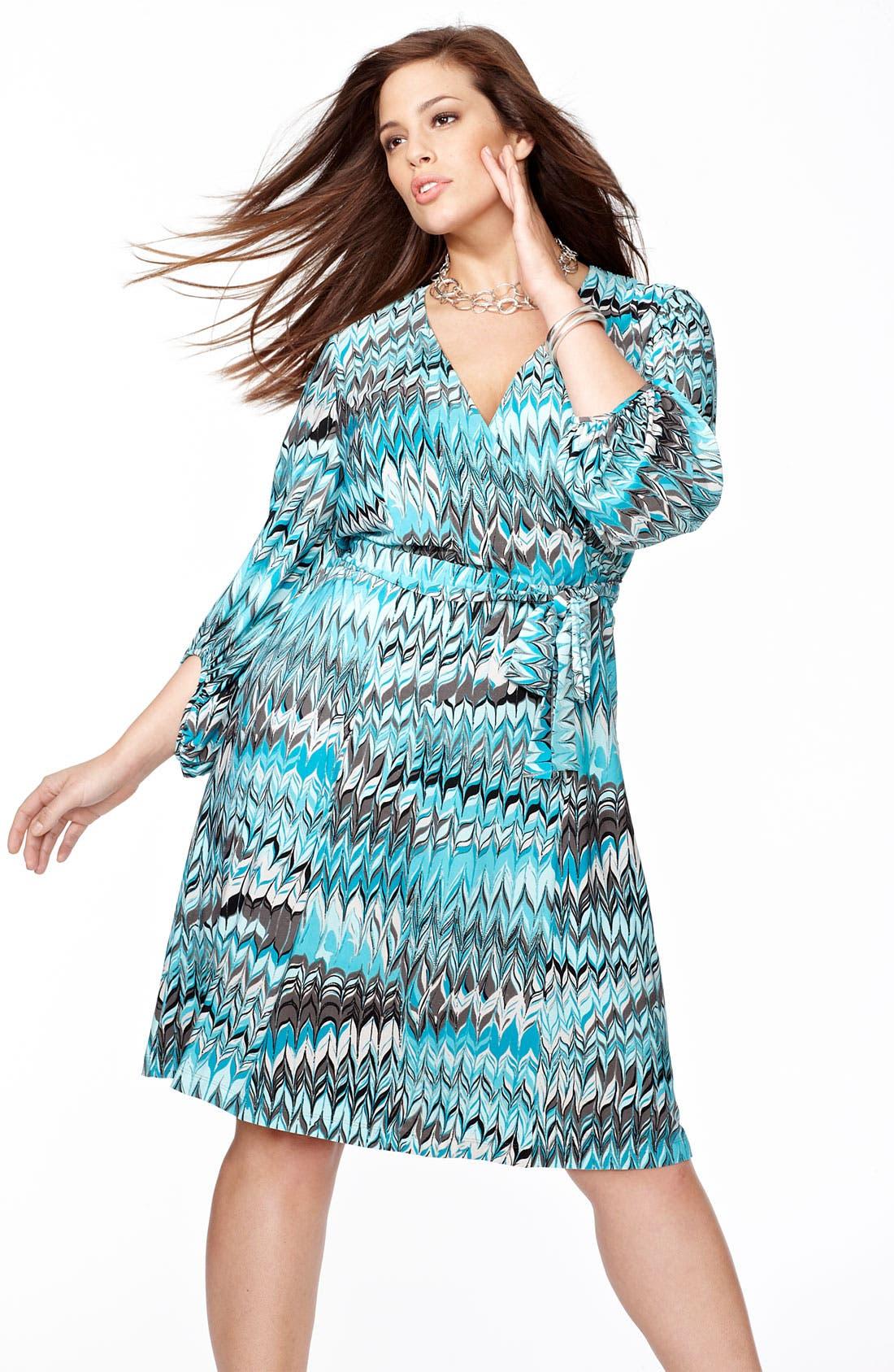 Alternate Image 4  - Donna Ricco Print Jersey Faux Wrap Dress (Plus)