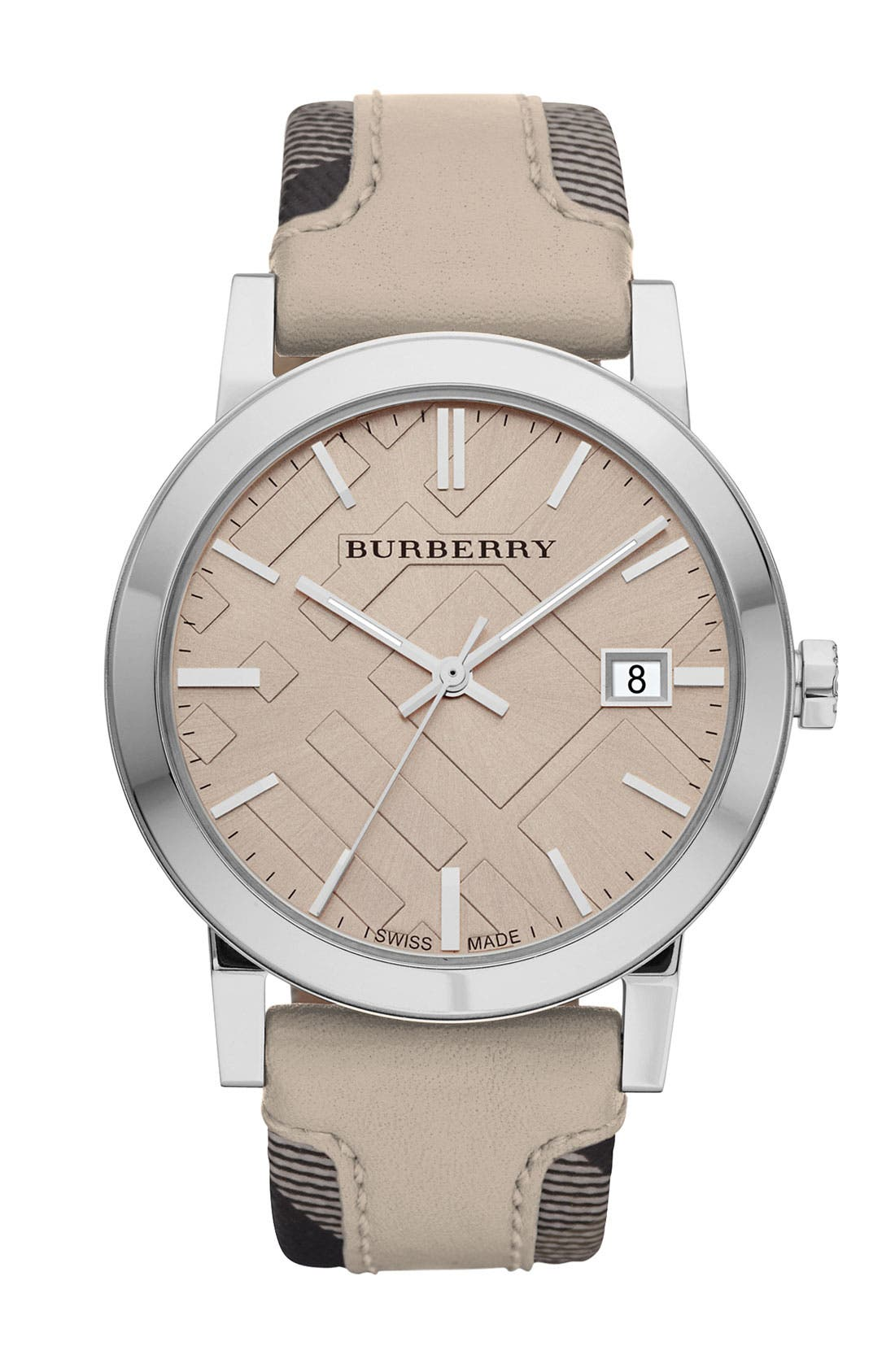 Main Image - Burberry 'Large' Stamped Leather Strap Watch, 38mm