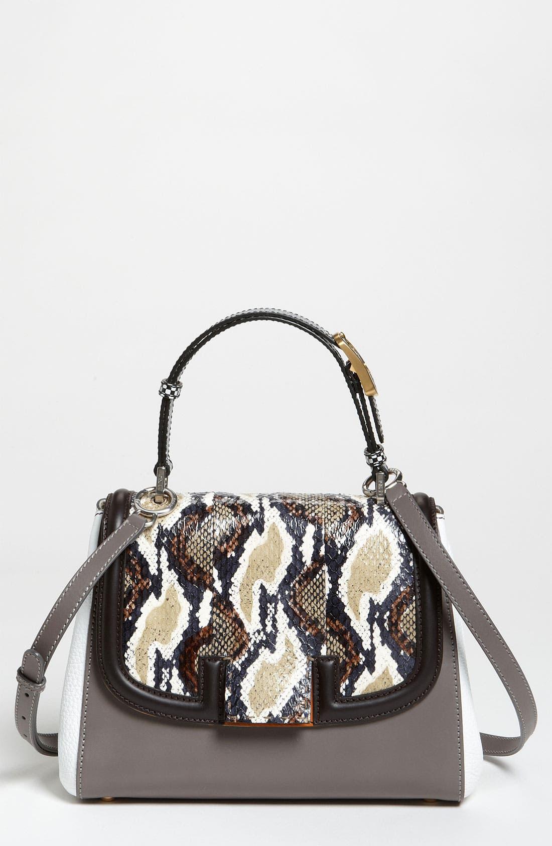 Main Image - Fendi 'Silvana Elaphe Fantasy' Leather & Genuine Snakeskin Satchel