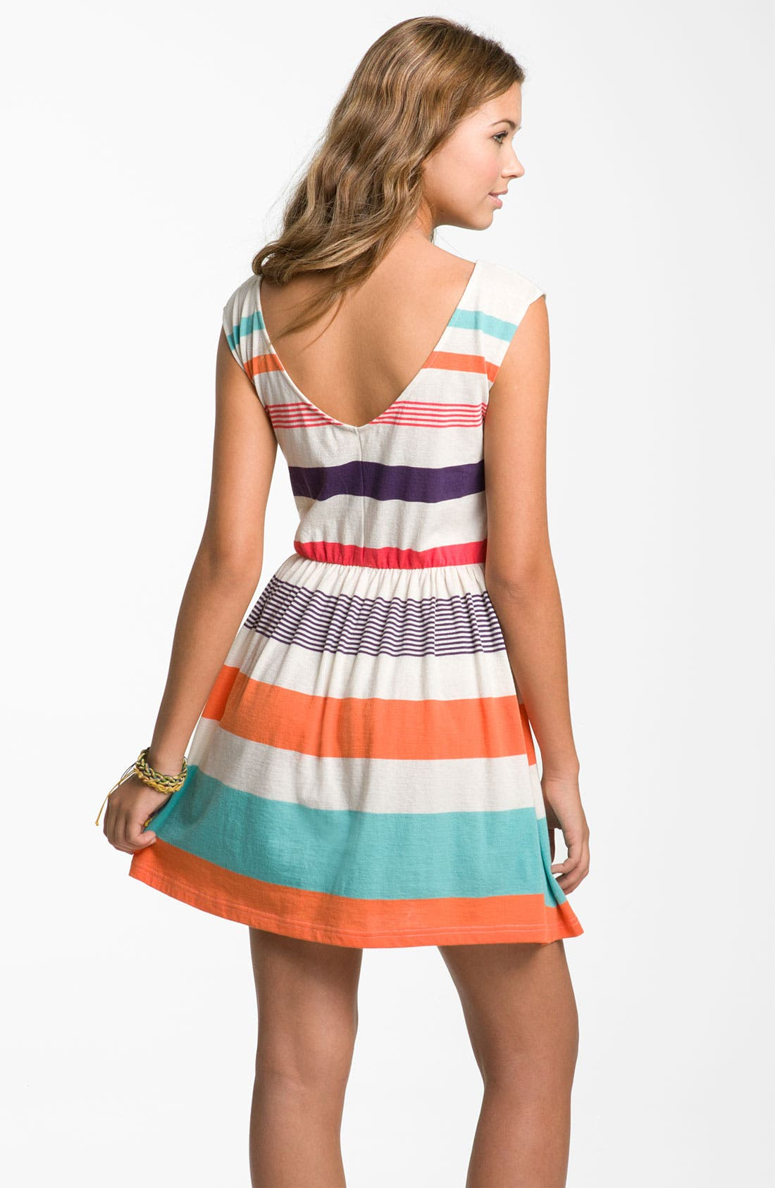Alternate Image 2  - Rubbish® Stripe V-Back Dress (Juniors)