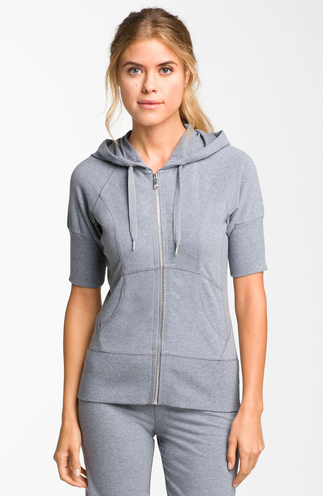 'Supersoft' Short Sleeve Hoodie,                             Main thumbnail 1, color,                             Grey Folkstone