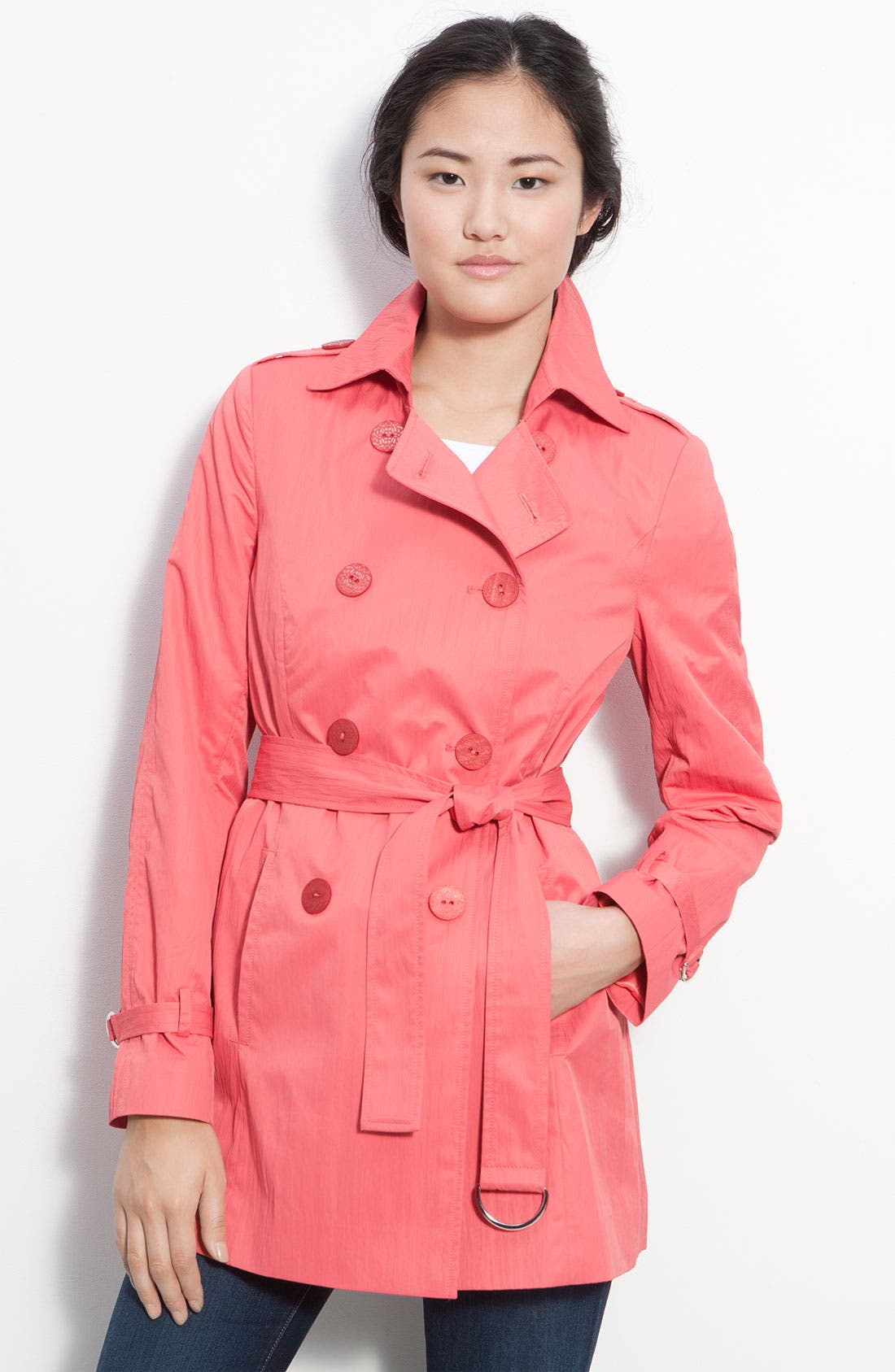 Double Breasted Trench Coat,                             Main thumbnail 1, color,                             Egypt Coral