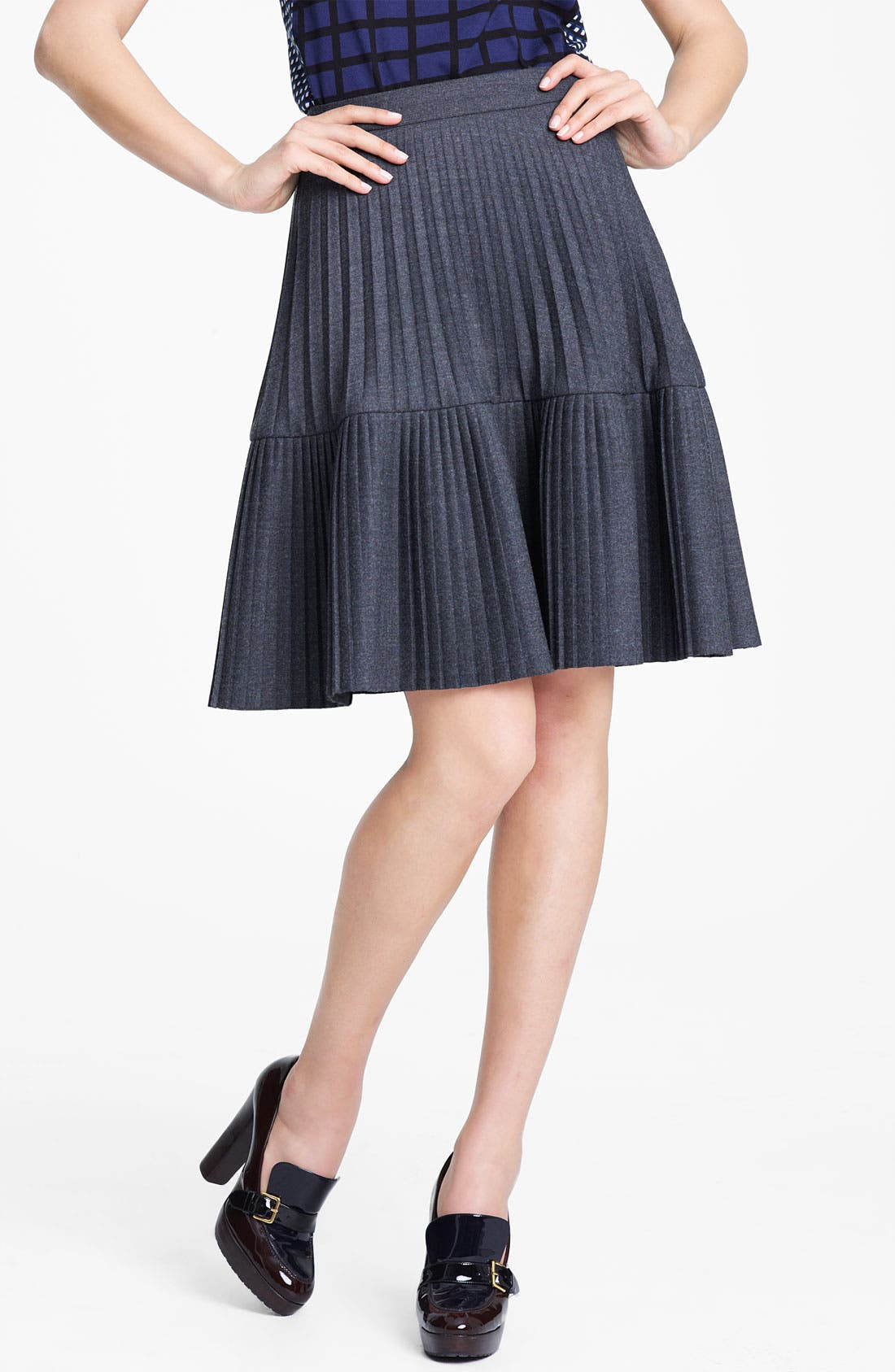 Main Image - Marni Edition Pleated Mélange Flannel Skirt