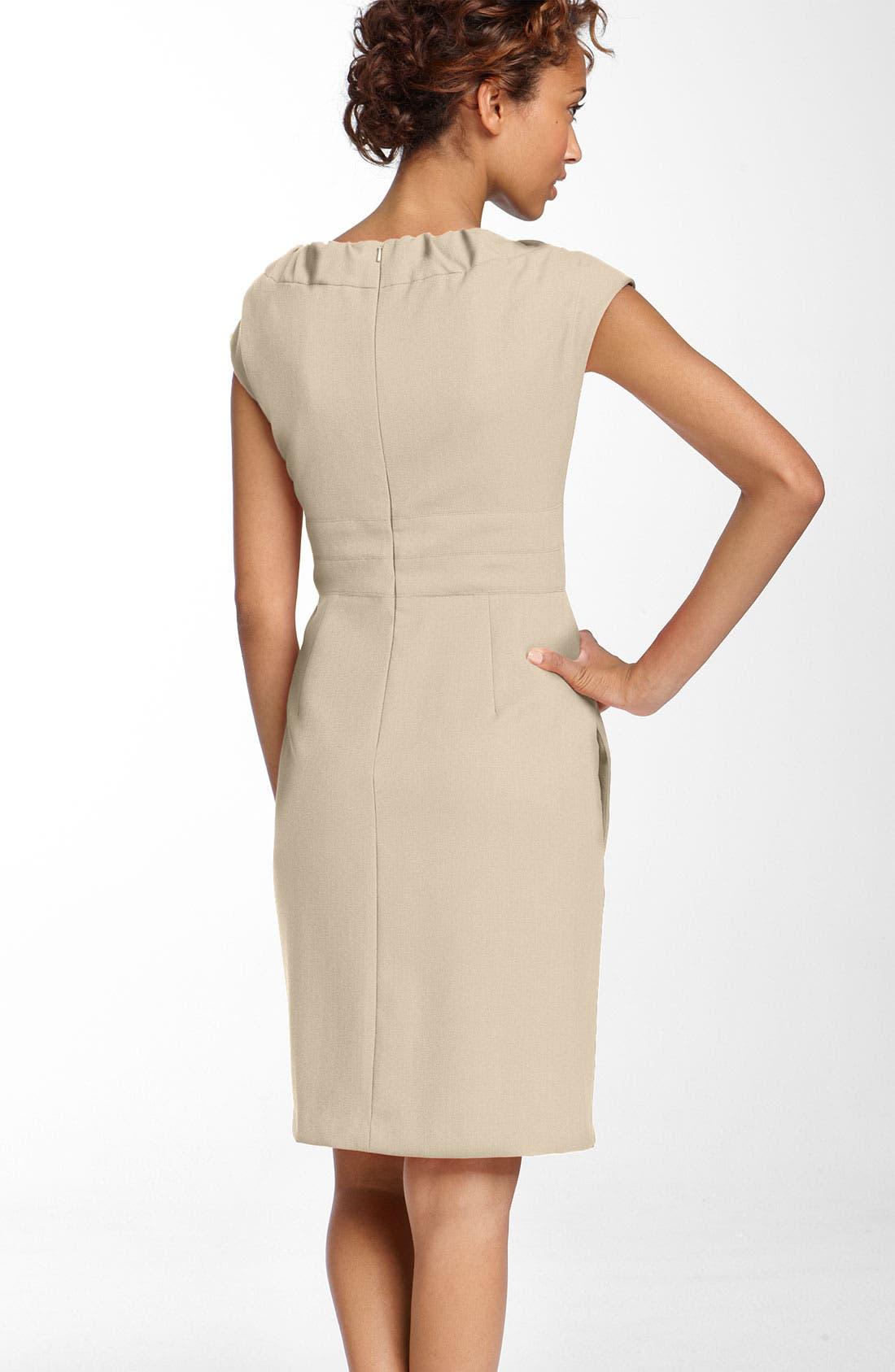 Alternate Image 2  - Donna Ricco Gathered Neckline Twill Dress