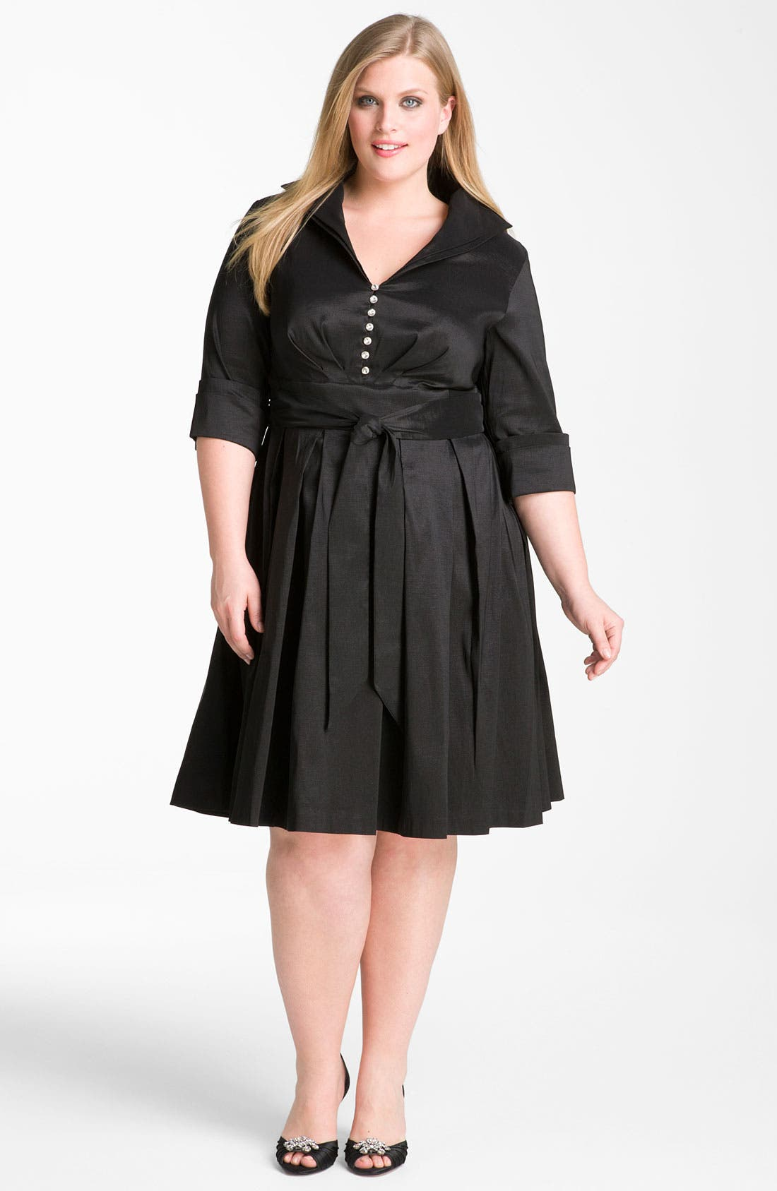 Alternate Image 1 Selected - Donna Ricco Rhinestone Button Taffeta Shirtdress (Plus Size)