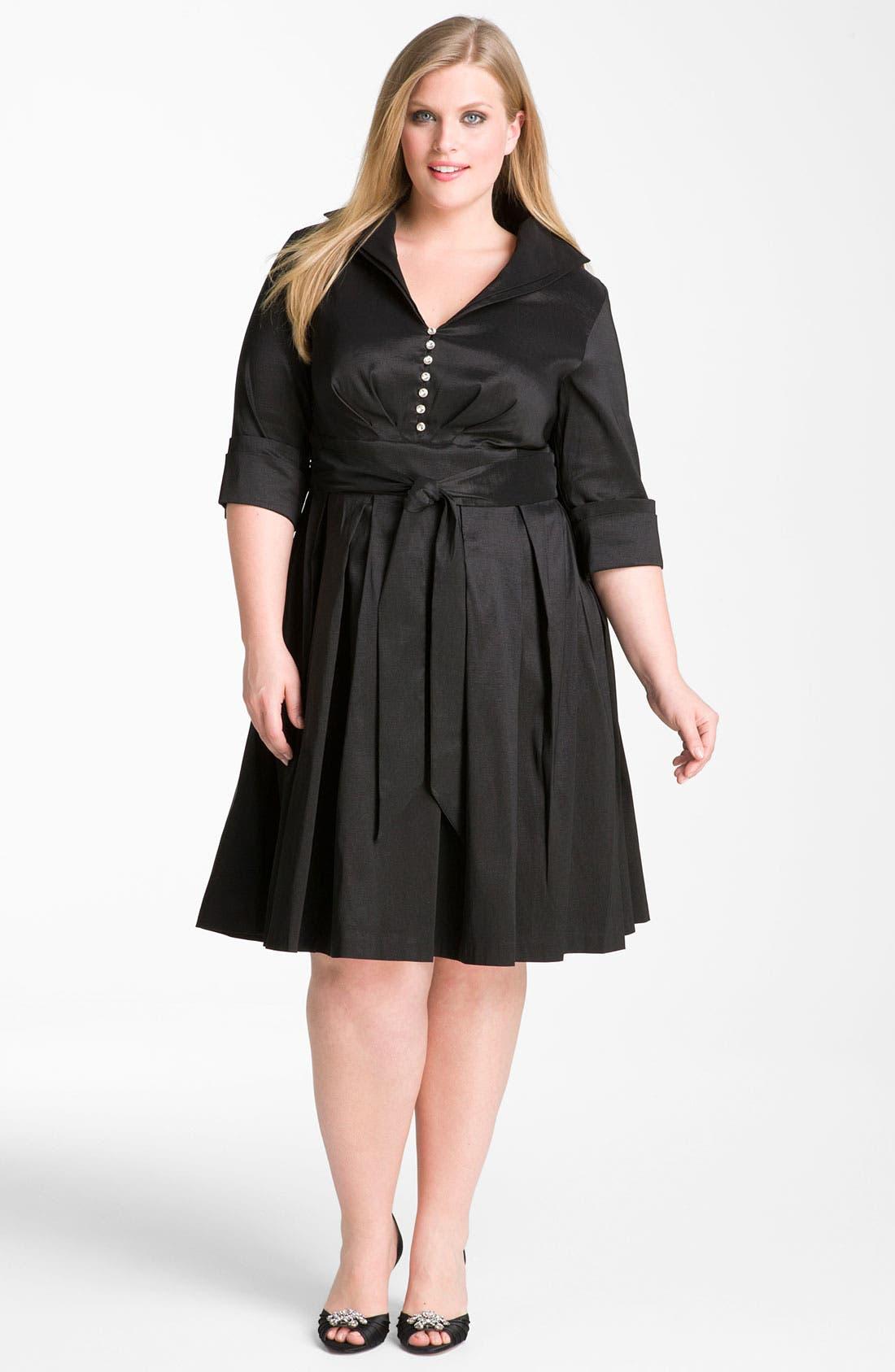 Main Image - Donna Ricco Rhinestone Button Taffeta Shirtdress (Plus Size)