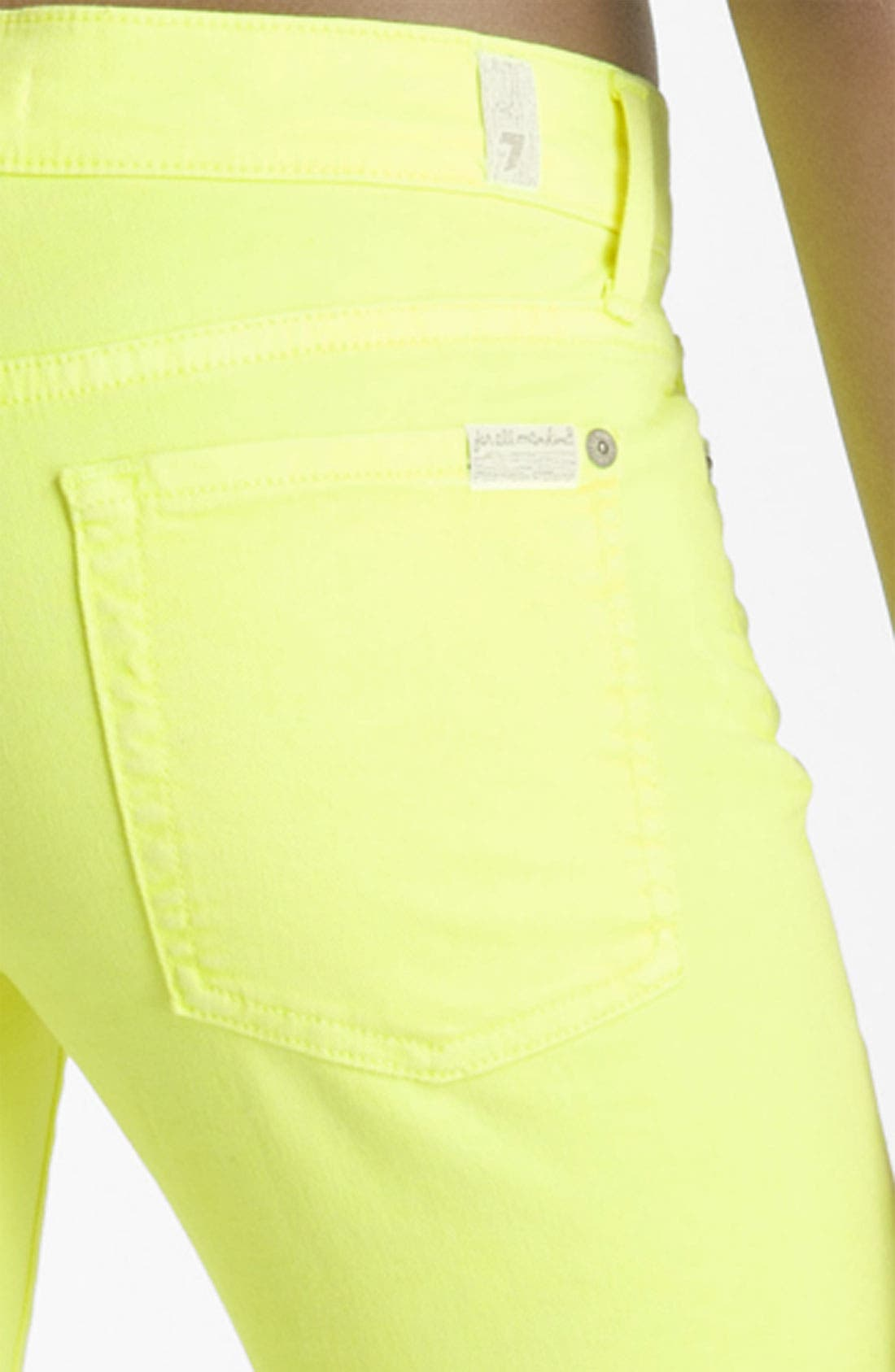 Alternate Image 3  - 7 For All Mankind® 'The Skinny' Overdyed Jeans (Neon Citron Wash)