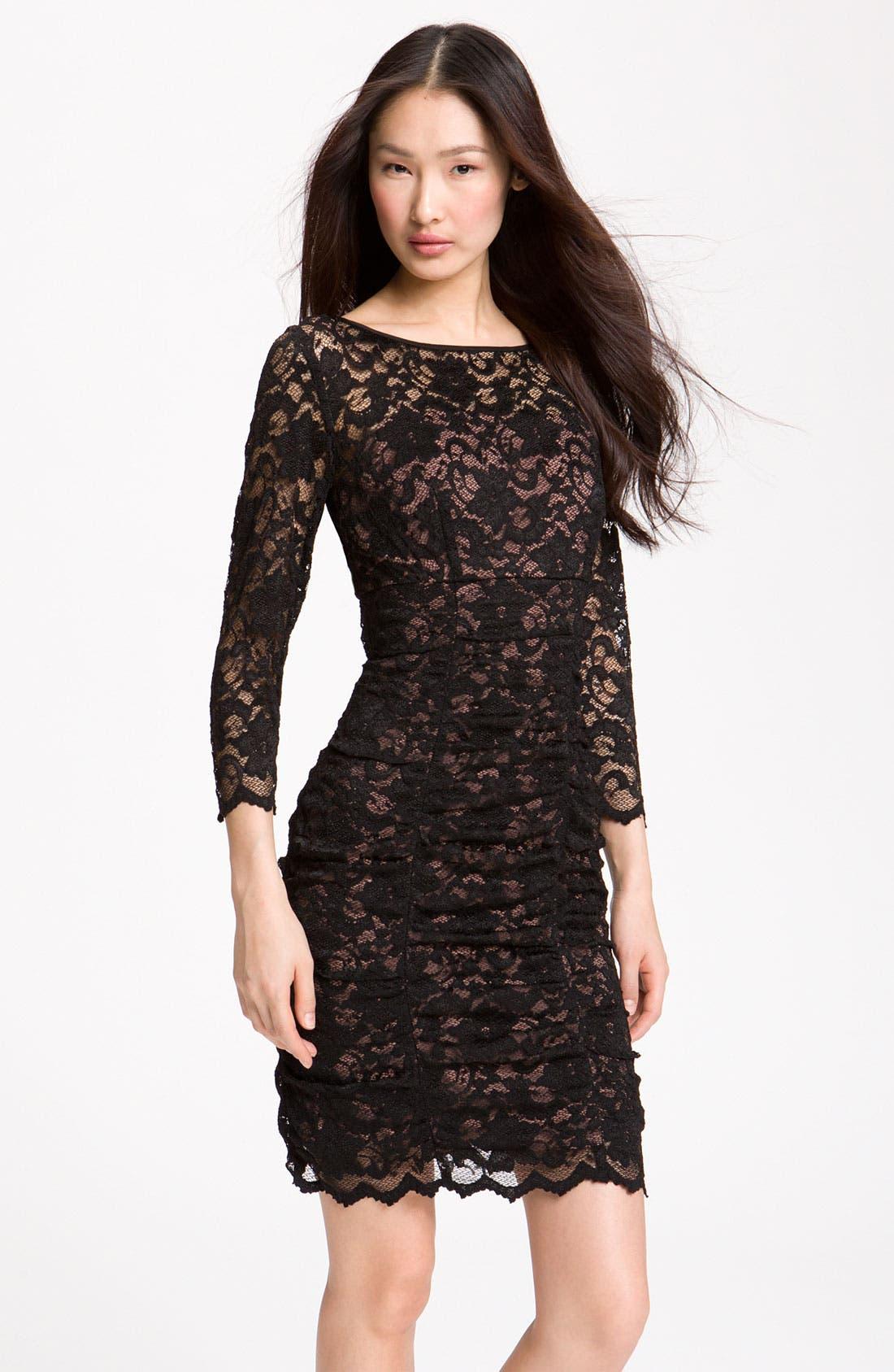 Alternate Image 1 Selected - Eliza J Ruched Lace Sheath Dress
