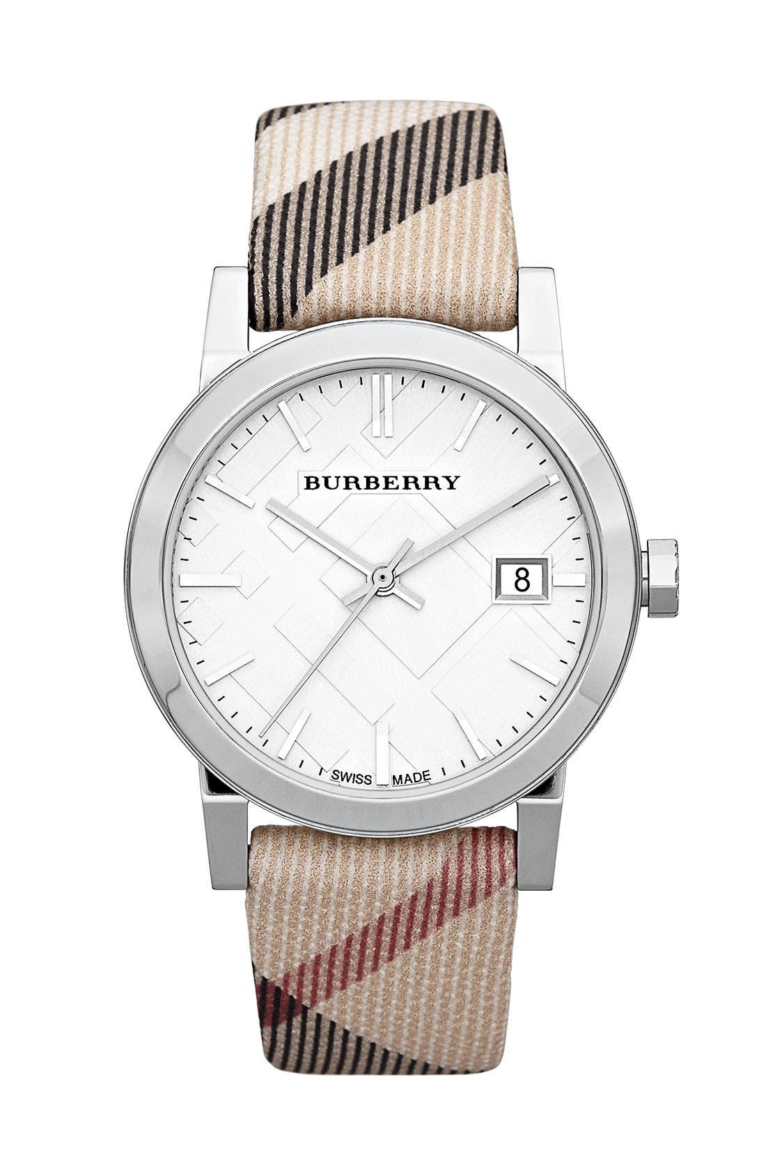 Main Image - Burberry Medium Check Strap Watch