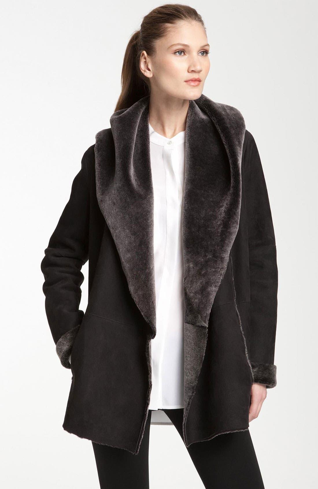 Alternate Image 1 Selected - Vince Hooded Genuine Shearling Coat