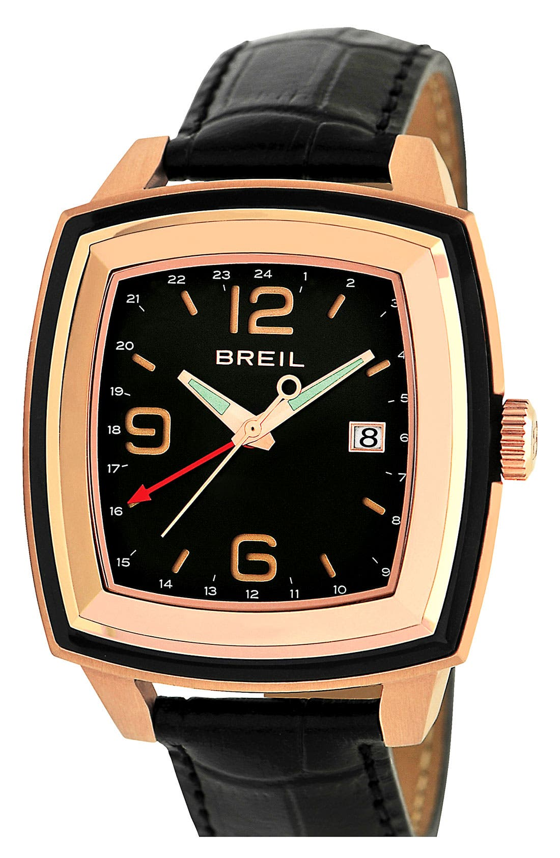 Alternate Image 1 Selected - Breil 'Orchestra' Large Square Dual Time Watch, 42mm x 52mm