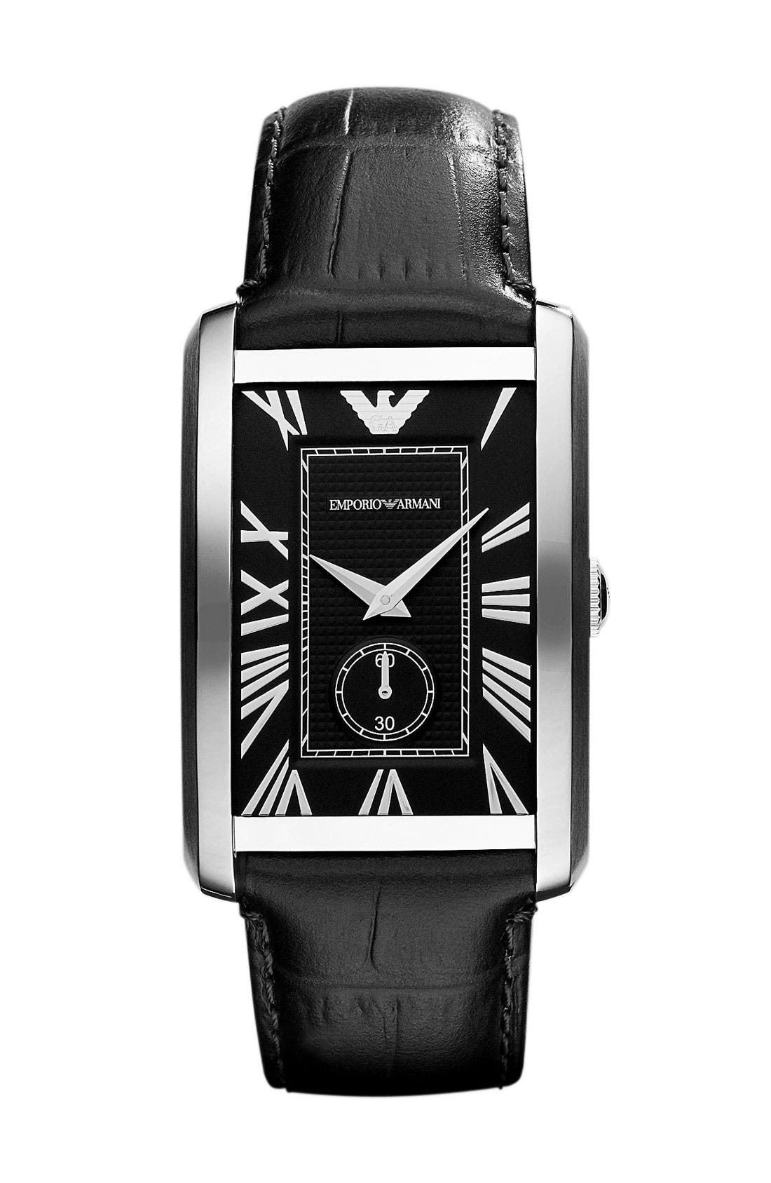 Main Image - Emporio Armani 'Classic - Large' Rectangular Dial Watch, 31mm x 39mm