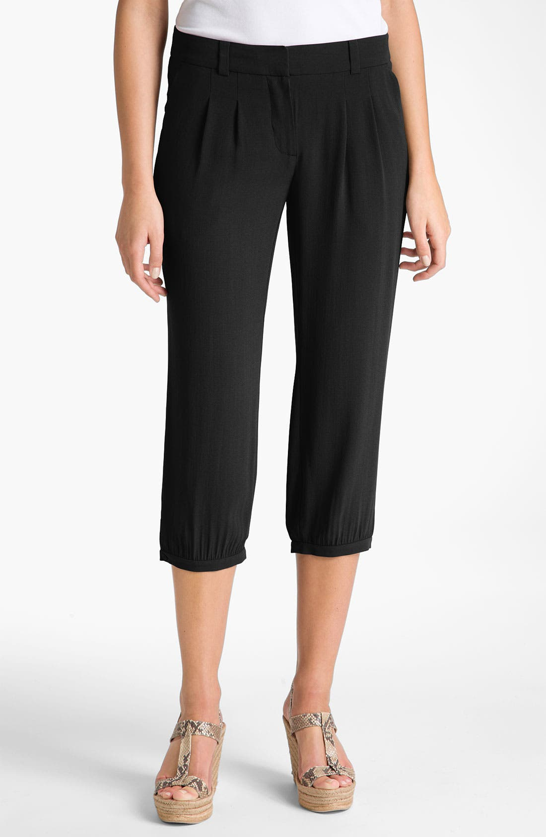 Alternate Image 1 Selected - Eileen Fisher Silk Georgette Crepe Crop Pants