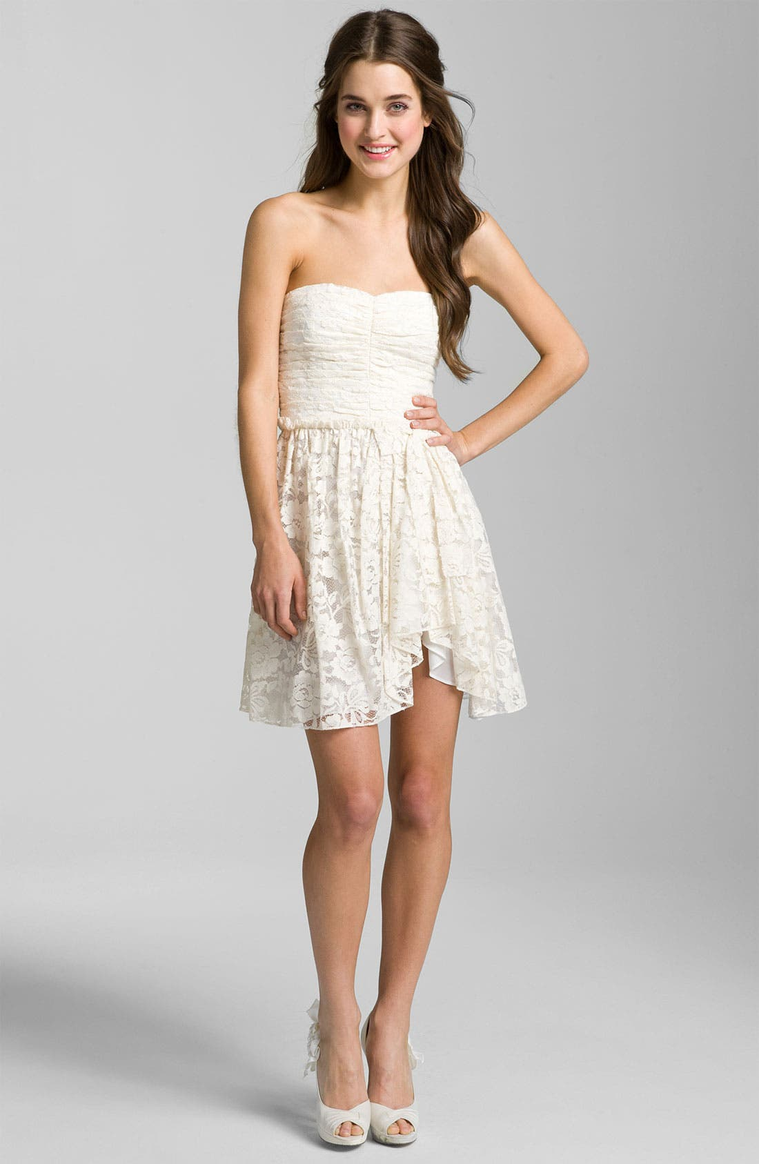 Sweetheart Lace Dress,                         Main,                         color, Ivory