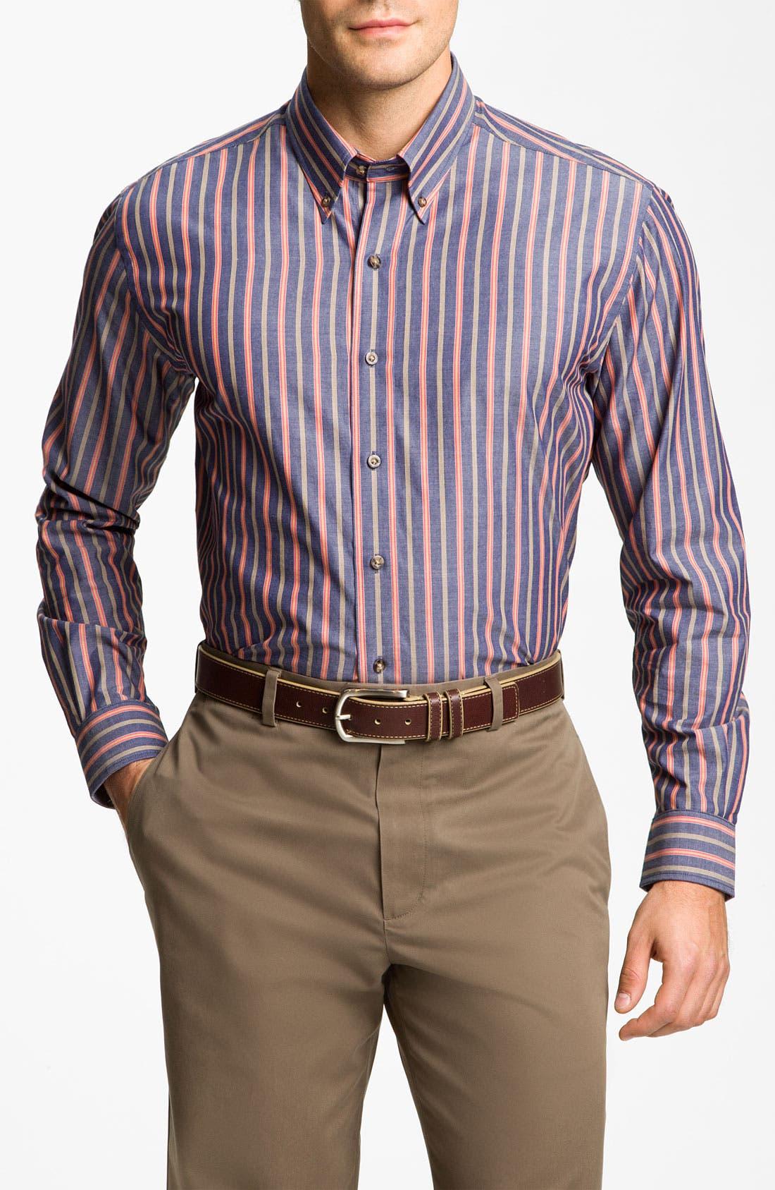 Main Image - Cutter & Buck 'Harvest' Stripe Sport Shirt (Big & Tall) (Online Only)