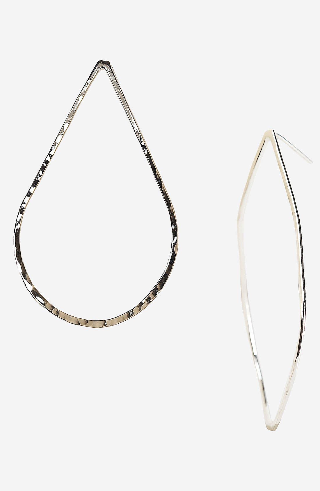 Main Image - Argento Vivo Hammered Teardrop Hoop Earrings