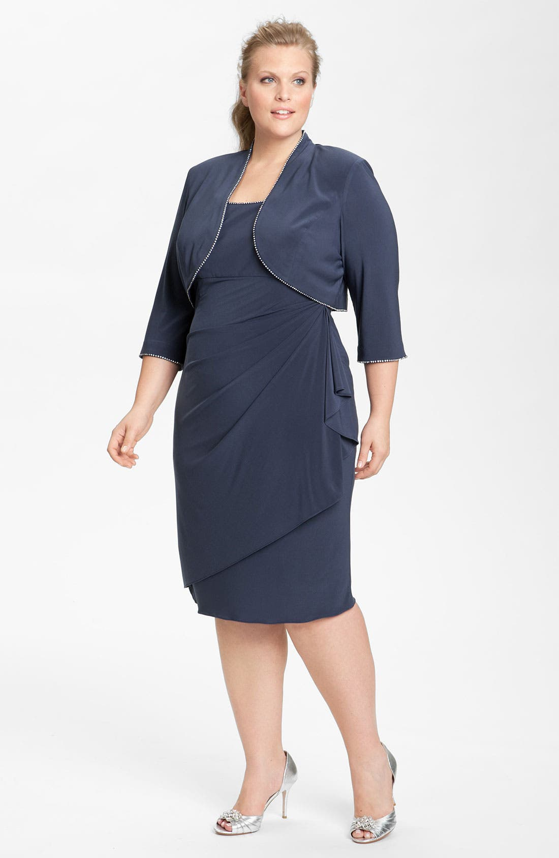 Main Image - Alex Evenings Rhinestone Trim Dress & Jacket (Plus)