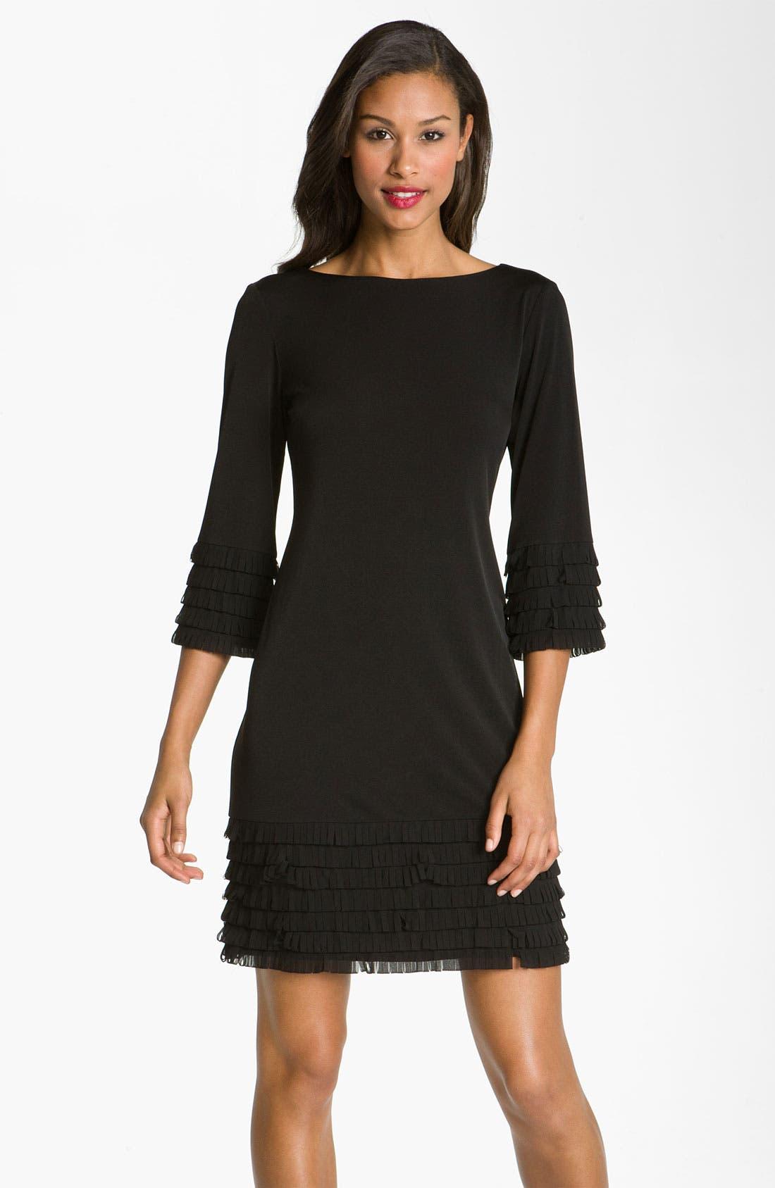 Main Image - Donna Morgan Fringe Detail Matte Jersey Shift Dress