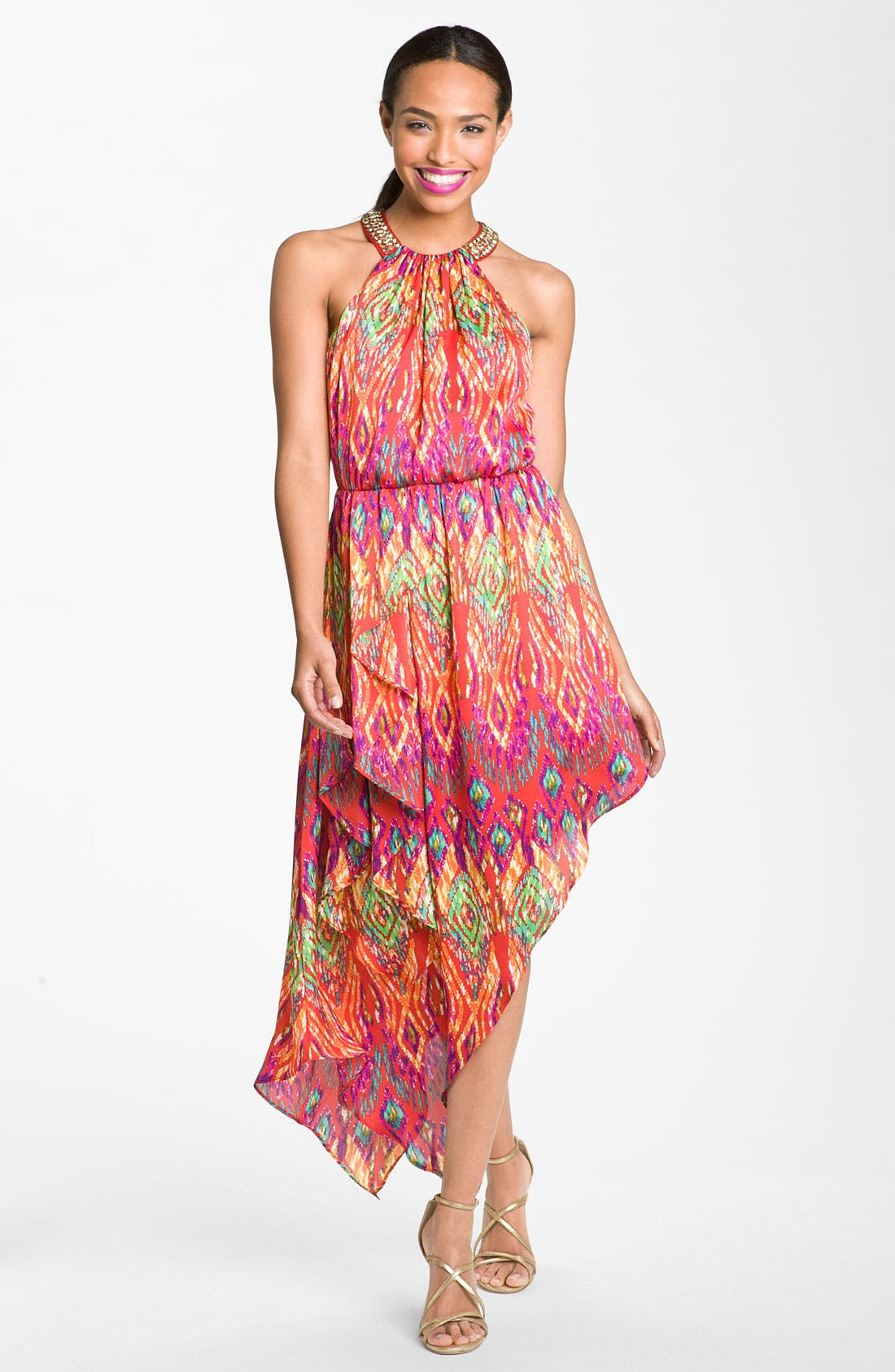 Alternate Image 1 Selected - Laundry by Shelli Segal Asymmetrical Satin Halter Dress