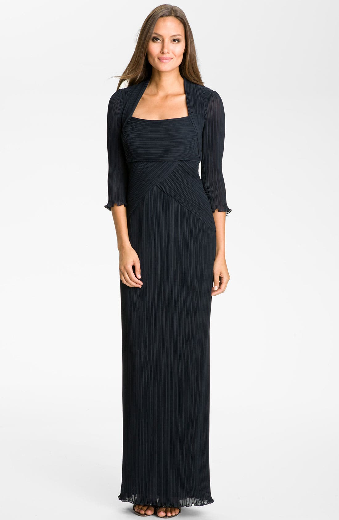 Alternate Image 1 Selected - Tadashi Shoji Square Neck Pleated Chiffon Gown