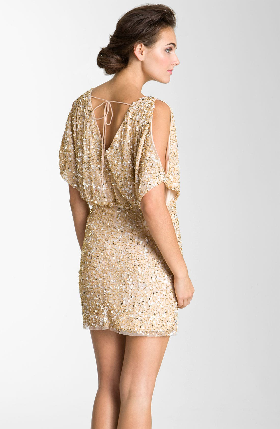 Alternate Image 2  - Aidan Mattox Bloused Sequin Cold Shoulder Dress
