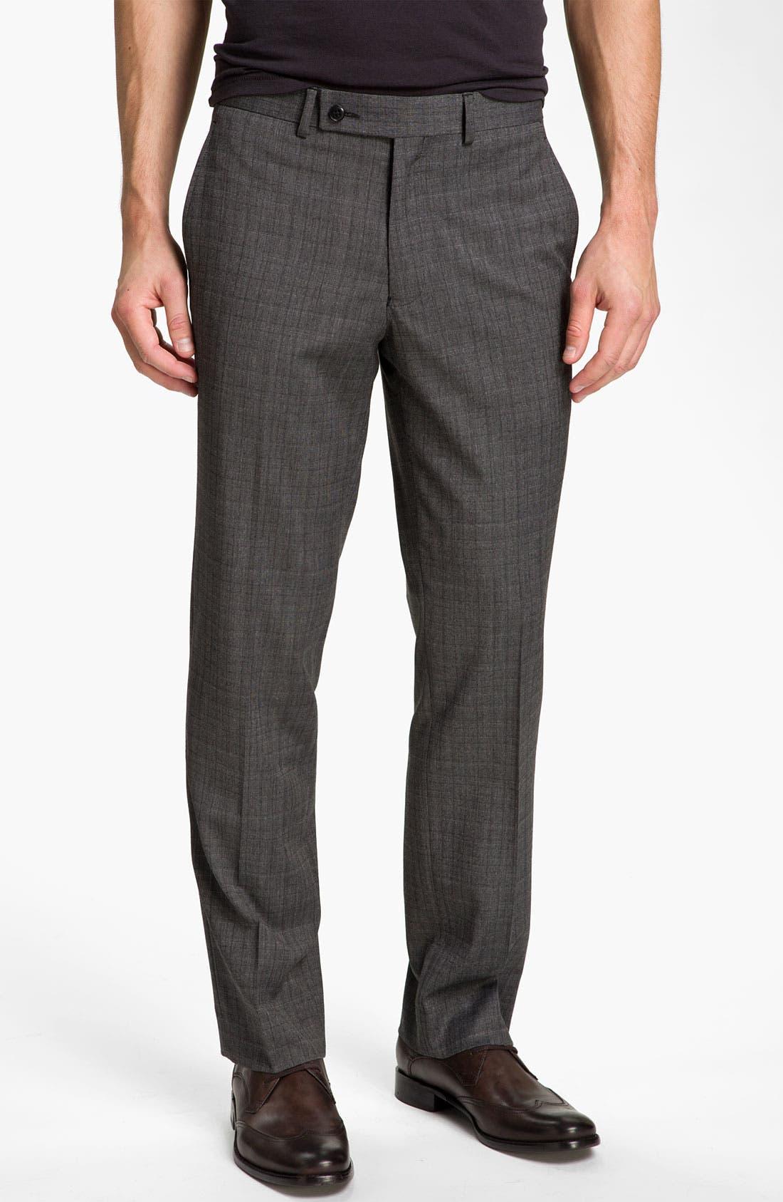 Main Image - John Varvatos Star USA 'Petro' Plaid Flat Front Trousers