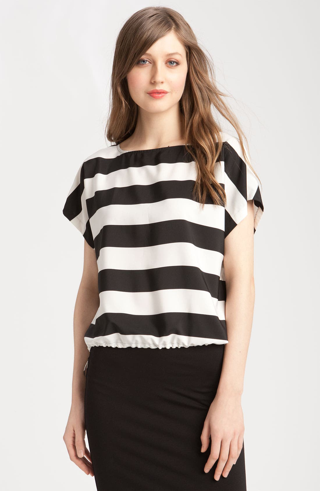 Stripe Blouse with Drawstring Hem,                             Main thumbnail 1, color,                             Rich Black