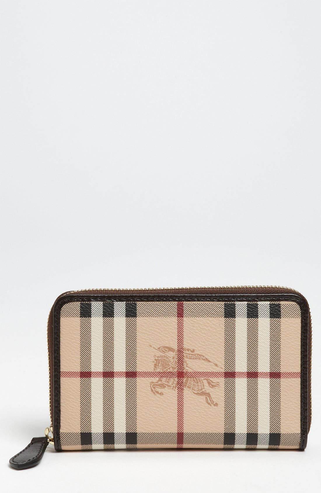 Main Image - Burberry 'Haymarket Check' Compact Zip Around Wallet