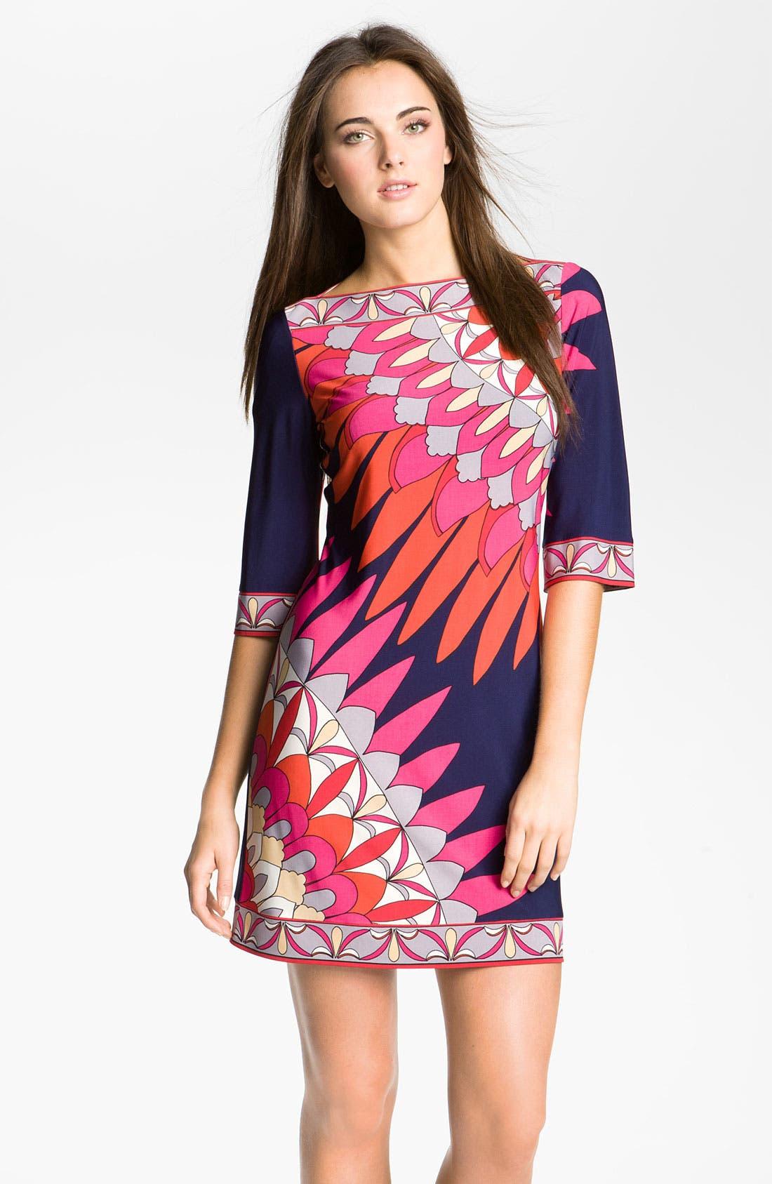 Main Image - Donna Morgan Boatneck Print Jersey Shift Dress