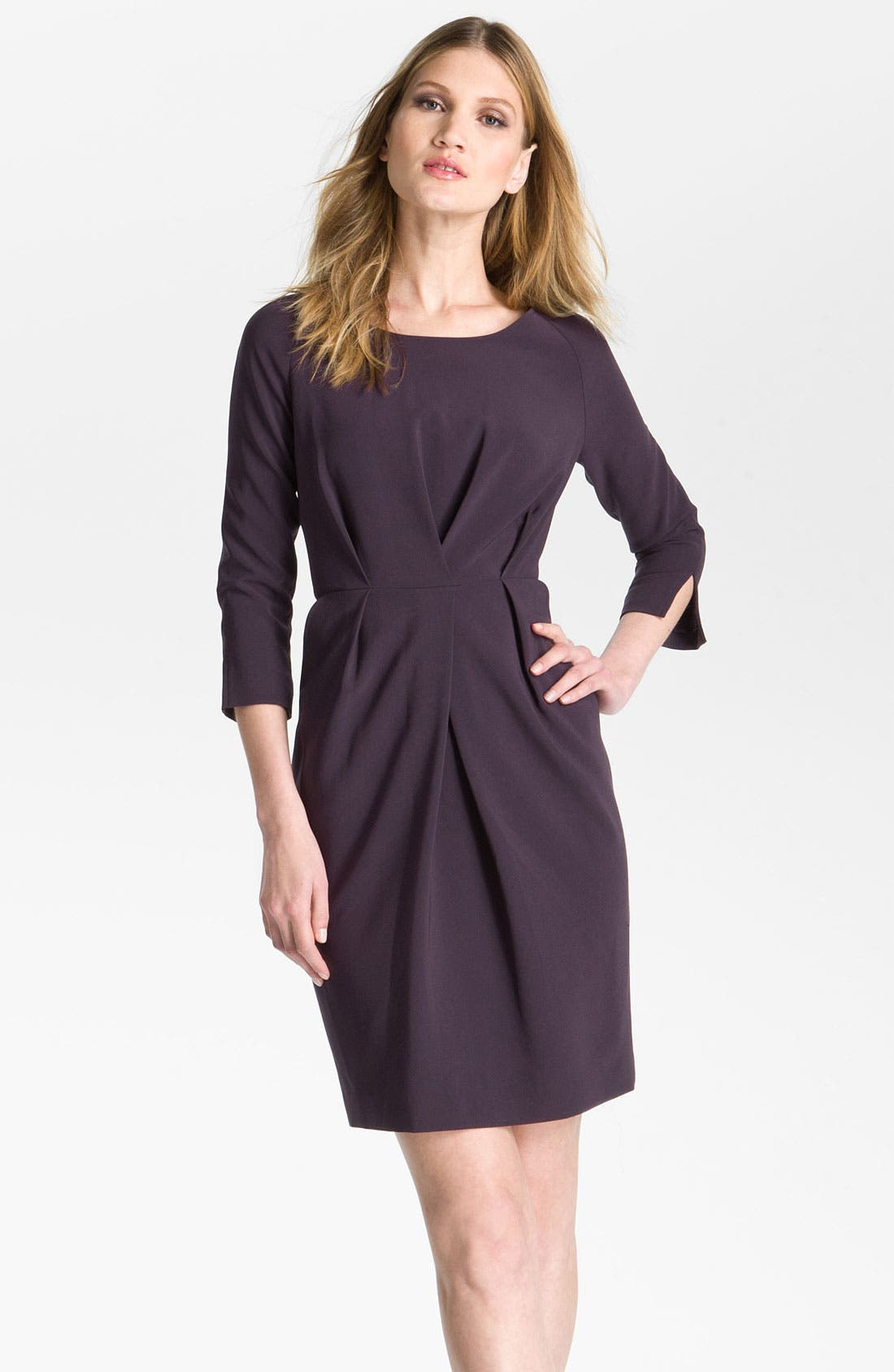 Main Image - St. John Collection Raglan Sleeve Crepe Marocain Dress
